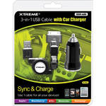 Xtreme Cables 3-in-1 USB Cable With Car Charger (1000 mAh)