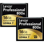 Lexar 16GB CompactFlash Memory Card Professional 800x - 2-Pack