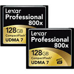 Lexar 128GB CompactFlash Memory Card Professional 800x - 2-Pack