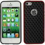 Xuma Patterned Flex Case for iPhone 5 (Red Edges / Black Rear)
