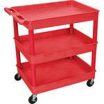 Luxor TC 3-Shelf Utility Tub Cart (Red Finish)