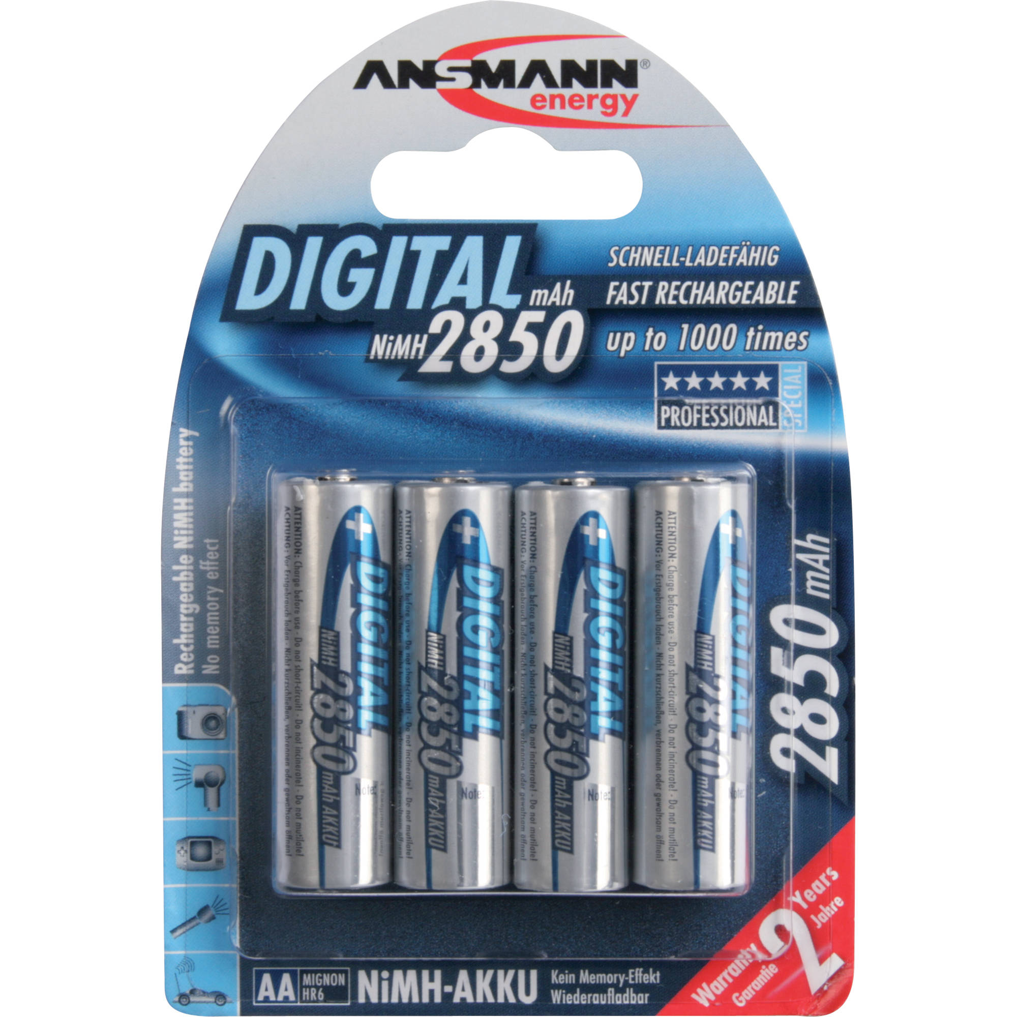 Ansmann AA Rechargeable NiMH Batteries 2850mAh 4 Pack