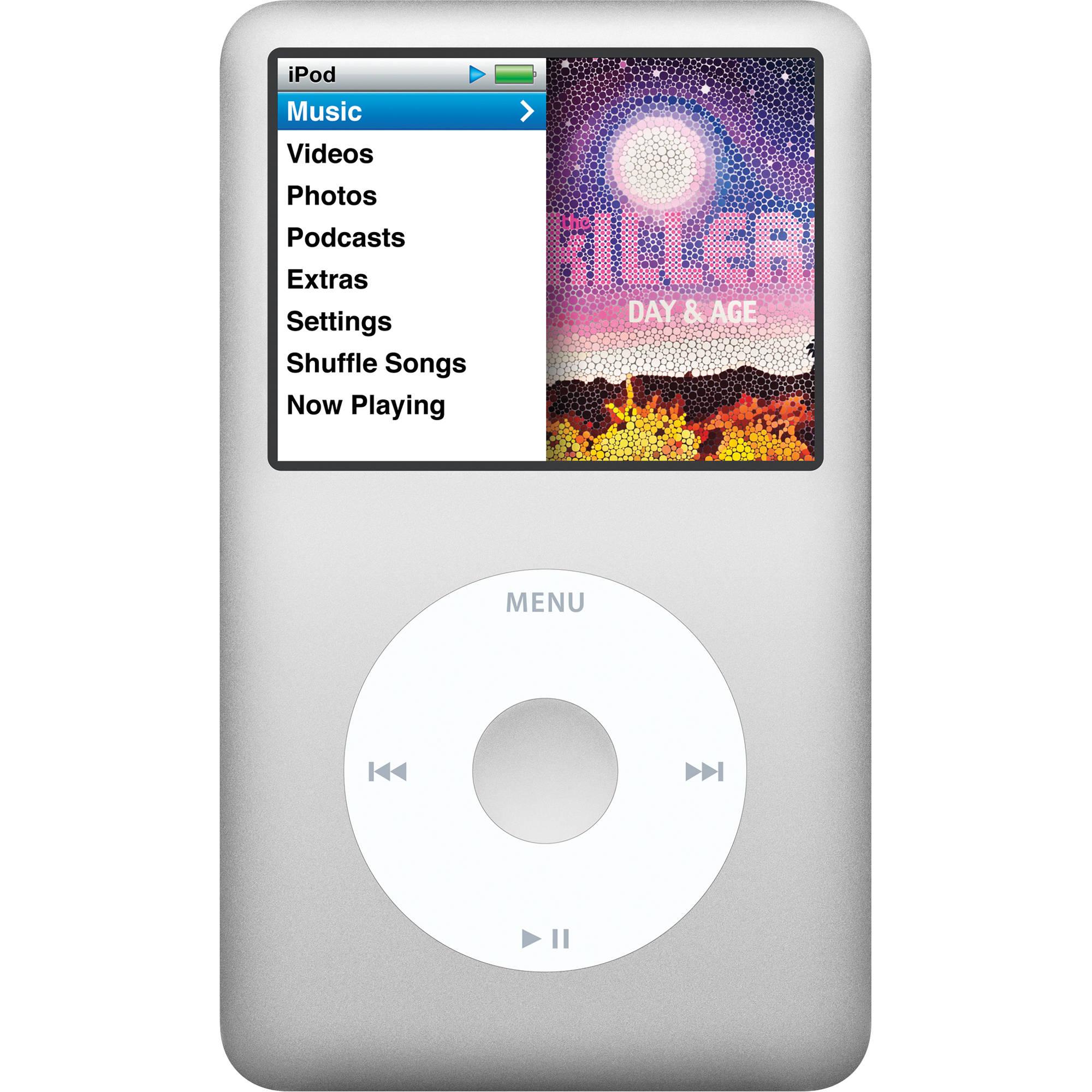 Apple 160gb ipod classic silver 7th generation mc293ll a b h