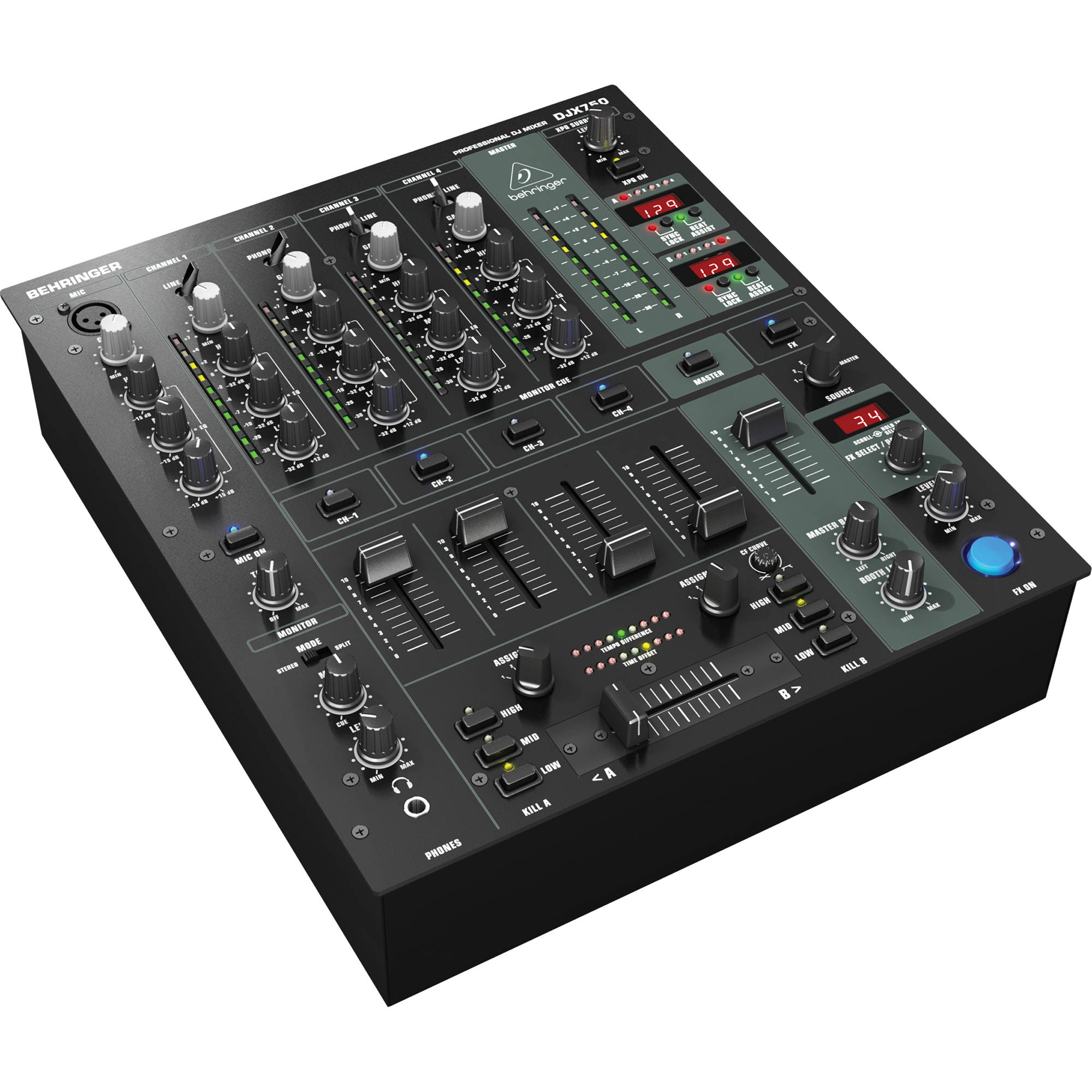 behringer djx 750 professional 5 channel dj mixer djx 750 b h. Black Bedroom Furniture Sets. Home Design Ideas
