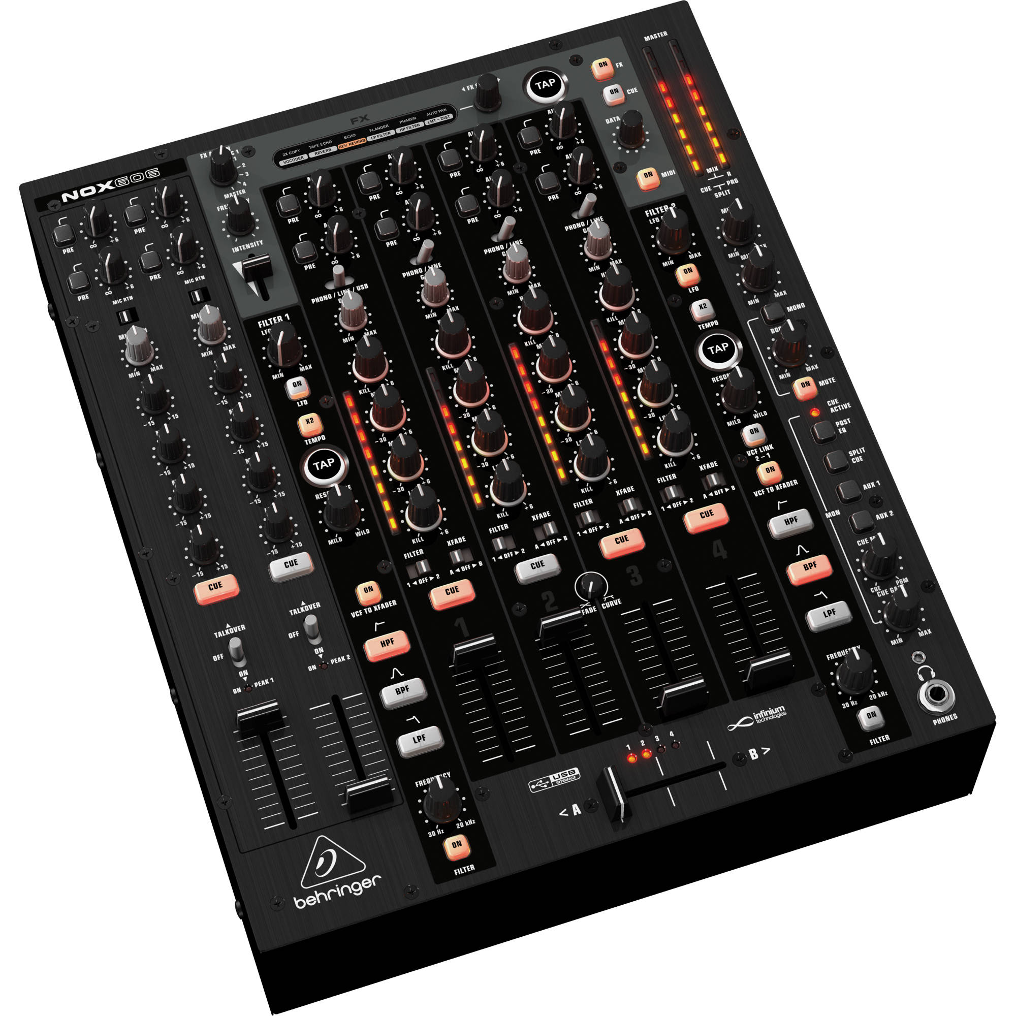 behringer pro mixer nox606 premium 6 channel dj mixer nox606 b h. Black Bedroom Furniture Sets. Home Design Ideas