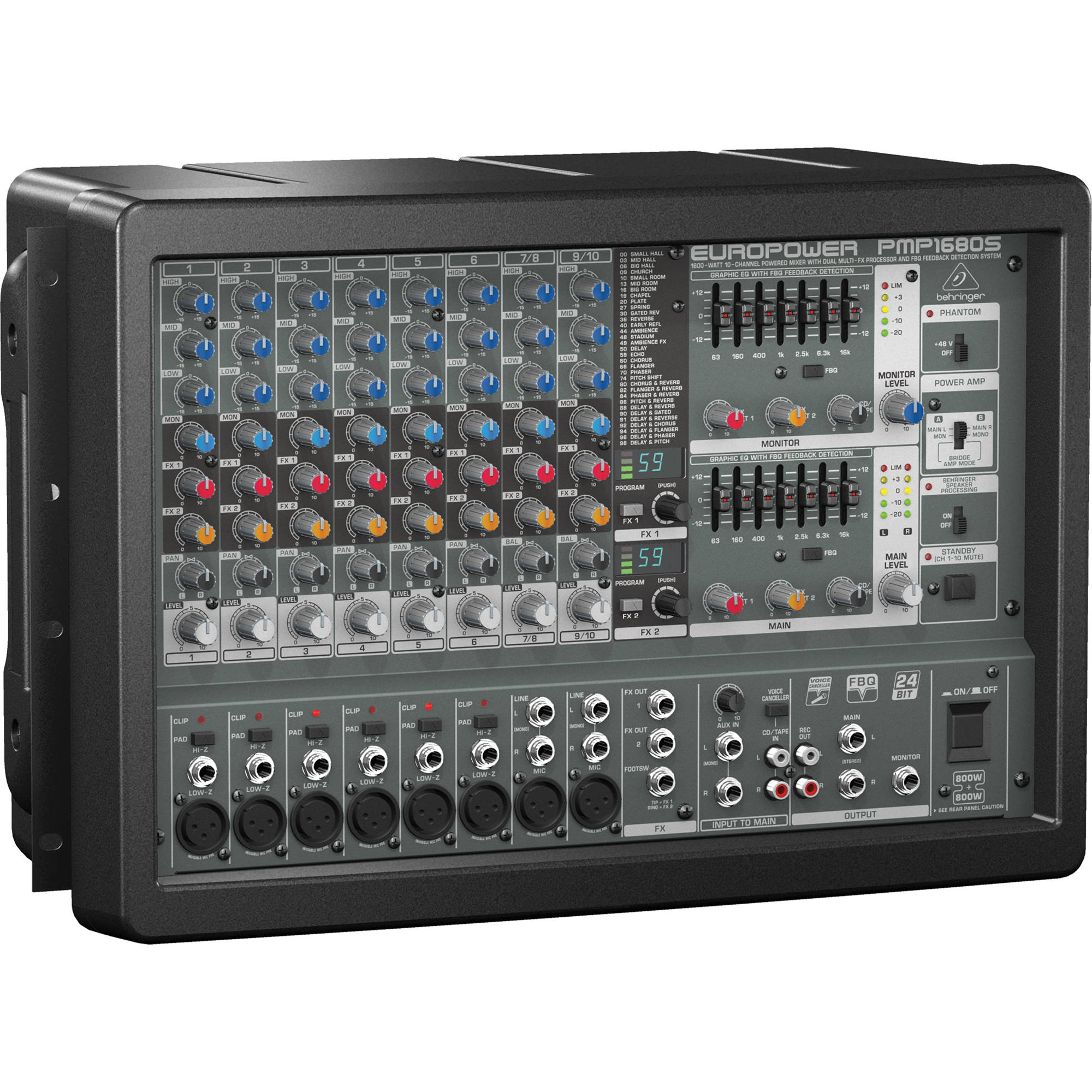 behringer pmp1680s 10 channel powered mixer pmp1680s b h photo. Black Bedroom Furniture Sets. Home Design Ideas