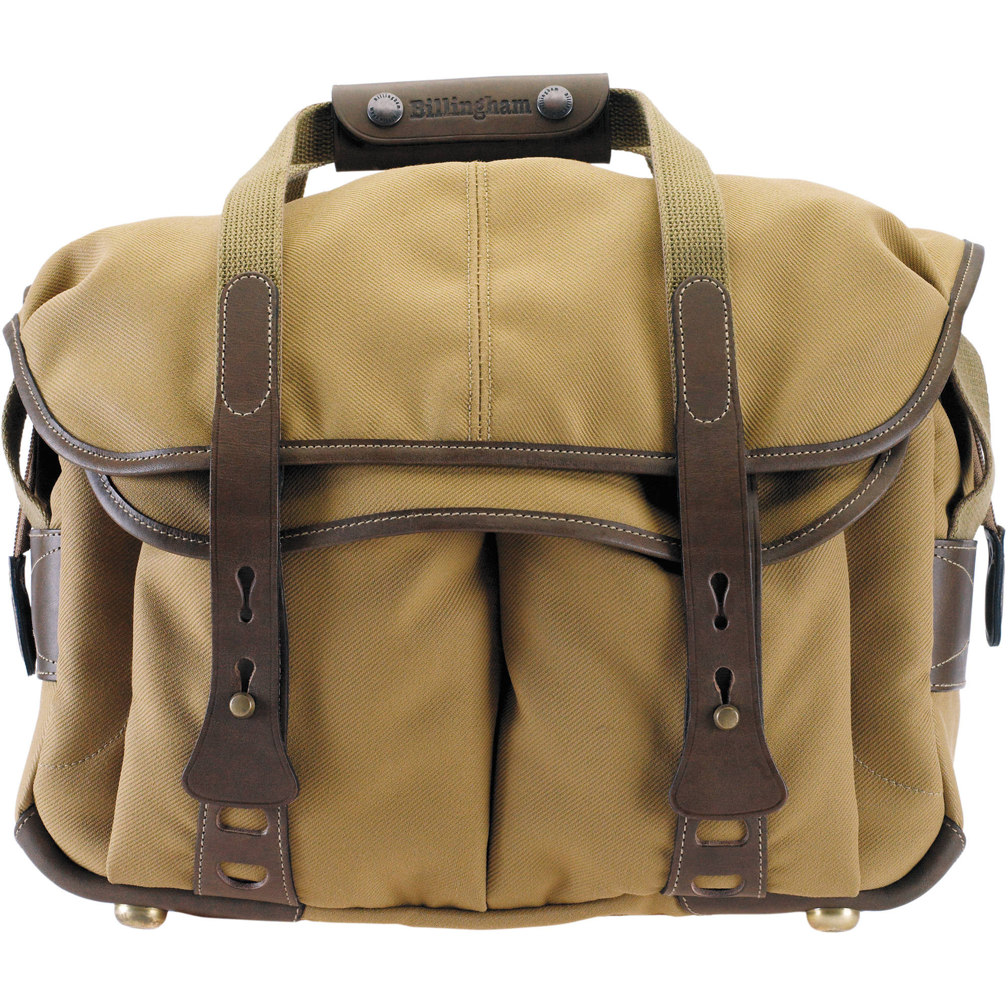 Billingham 307 Shoulder Bag Khaki With Chocolate Leather