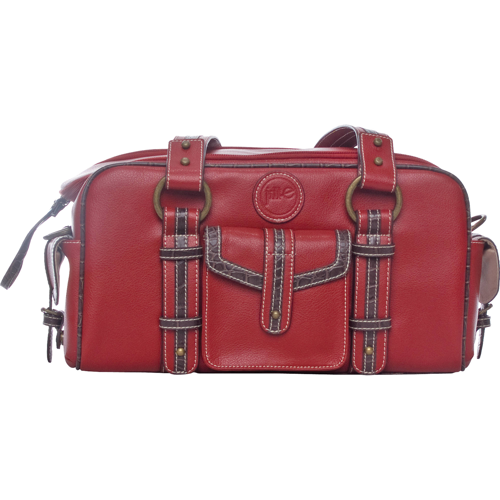 Jill E Designs Small Camera Bag Red With Croc Trim