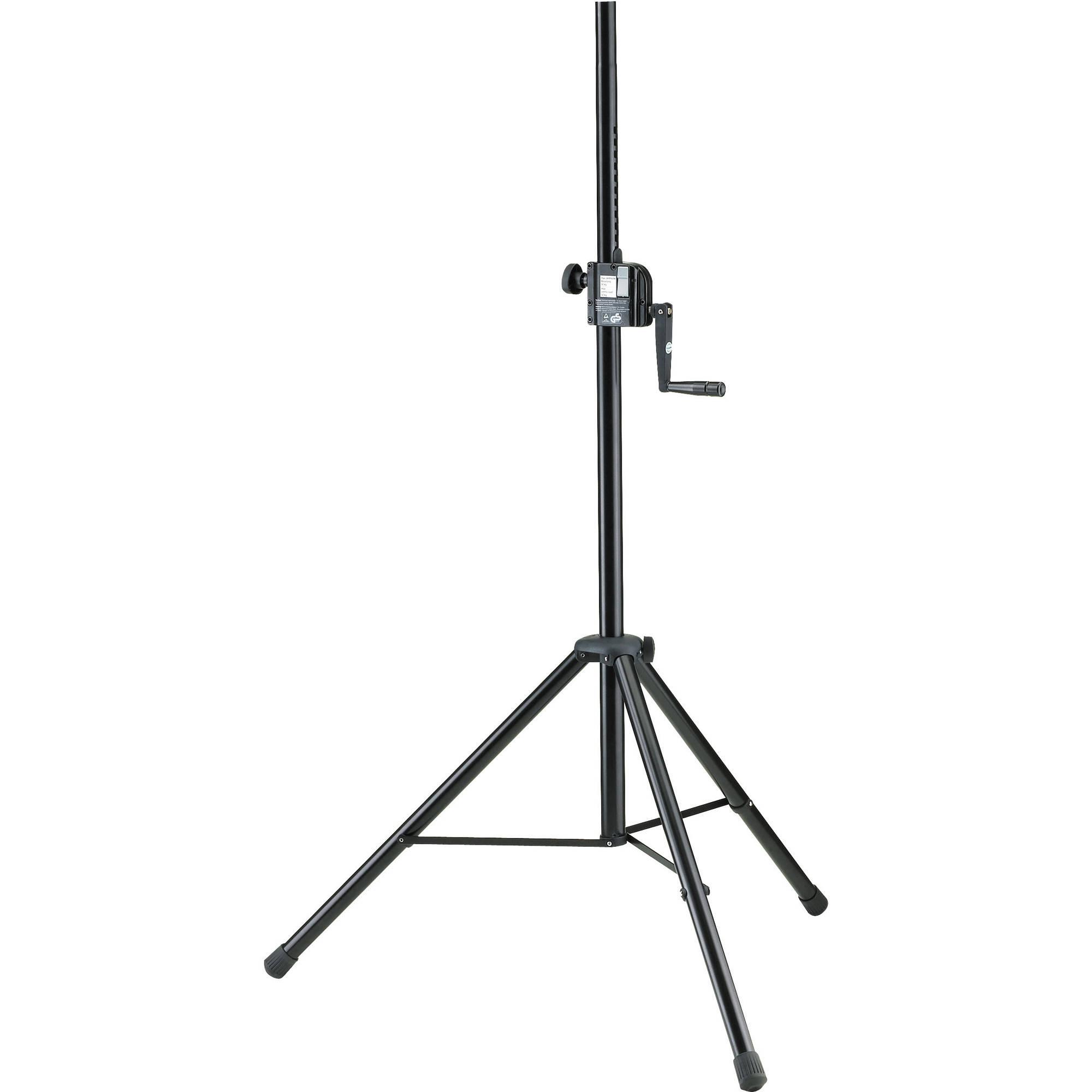 k m 21302 hand crank speaker stand black 21302 009 55 b h. Black Bedroom Furniture Sets. Home Design Ideas
