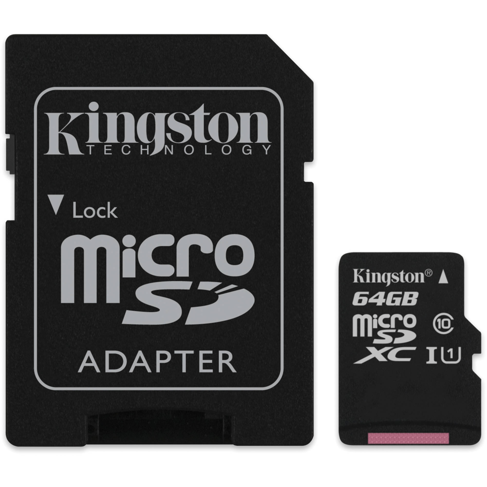 kingston 64gb microsdxc memory card class 10 with sd. Black Bedroom Furniture Sets. Home Design Ideas