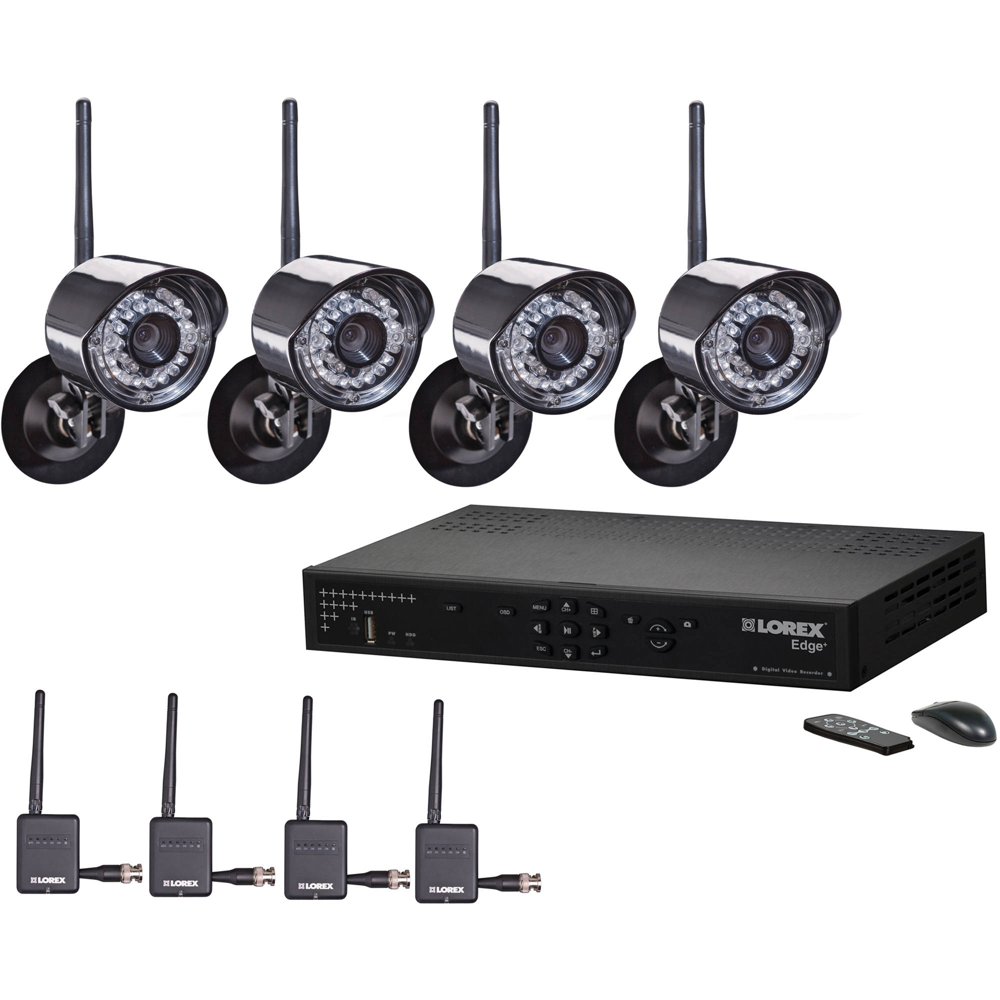 Lorex 8CH 4K DVR 2TB 4 UHD 4K Bullet Camera Security System 4 UHD 4K Bullet Cameras with Color Night Vision™ 8-channel 4K DVR RG Cabling Remote Viewing Available Via Free App.
