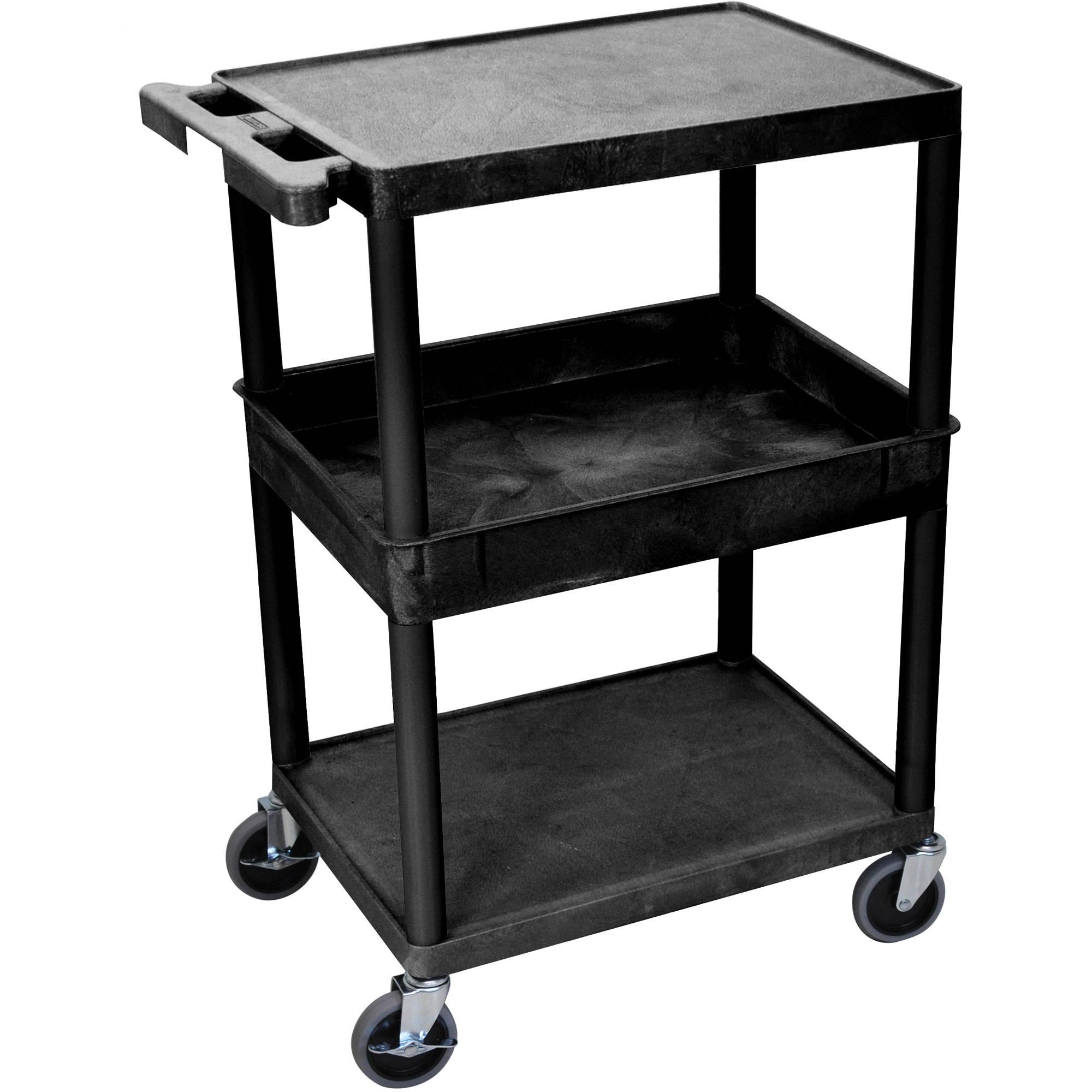 luxor stc212 24 x 18 three shelf utility cart stc212 b b h. Black Bedroom Furniture Sets. Home Design Ideas