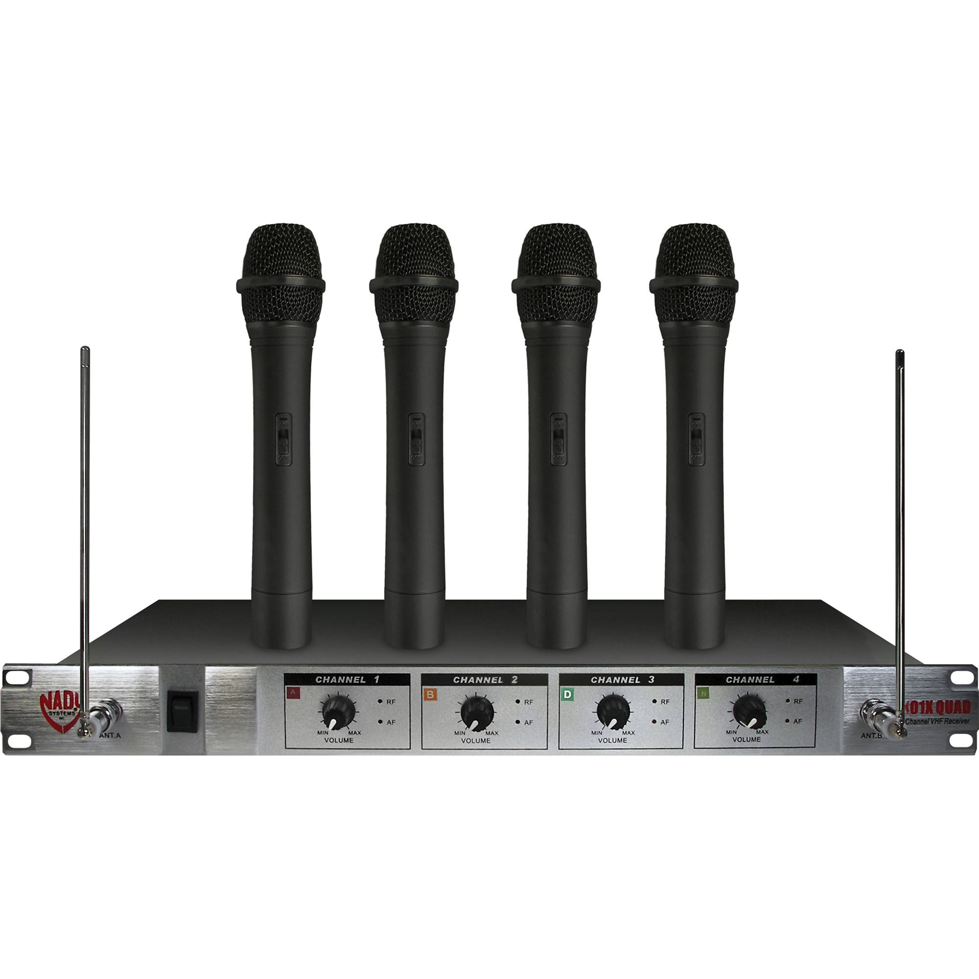 nady 401x quad 4 channel vhf wireless microphone 401xq. Black Bedroom Furniture Sets. Home Design Ideas