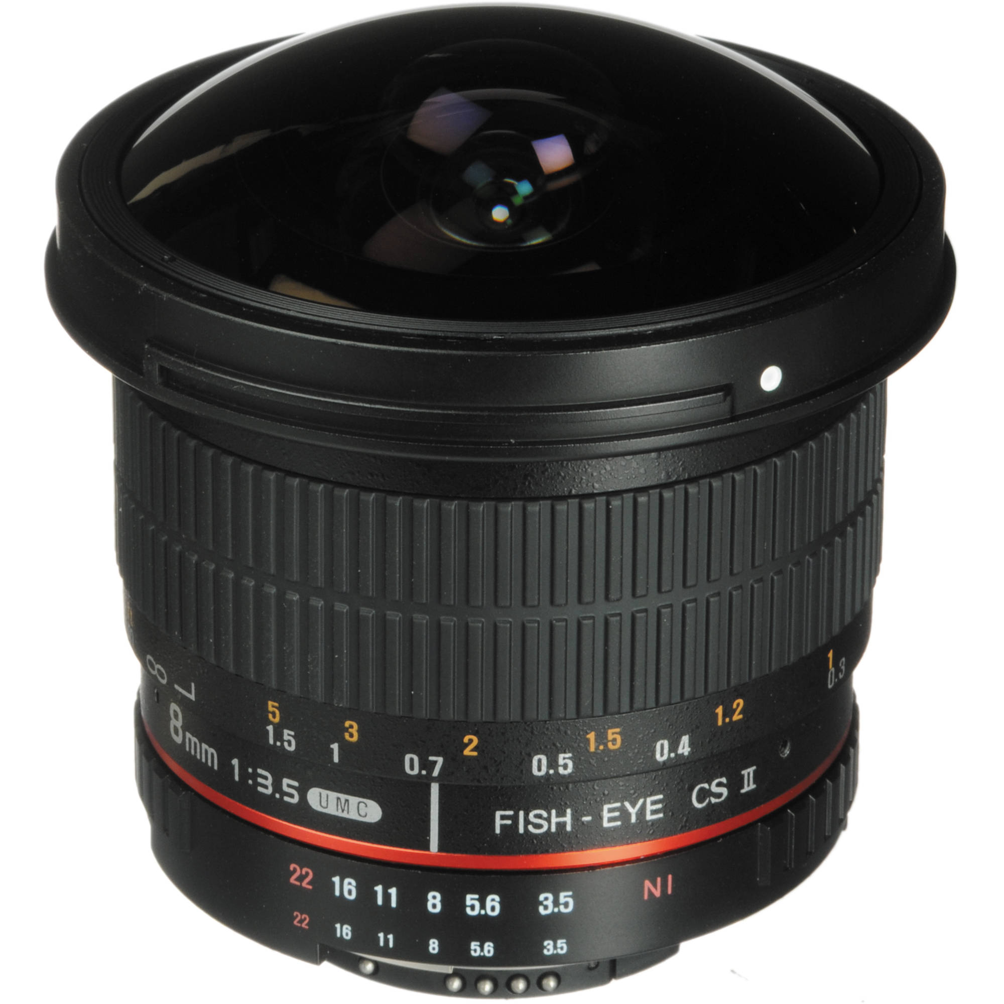 rokinon 8mm f 3 5 hd fisheye lens with removable hood hd8m