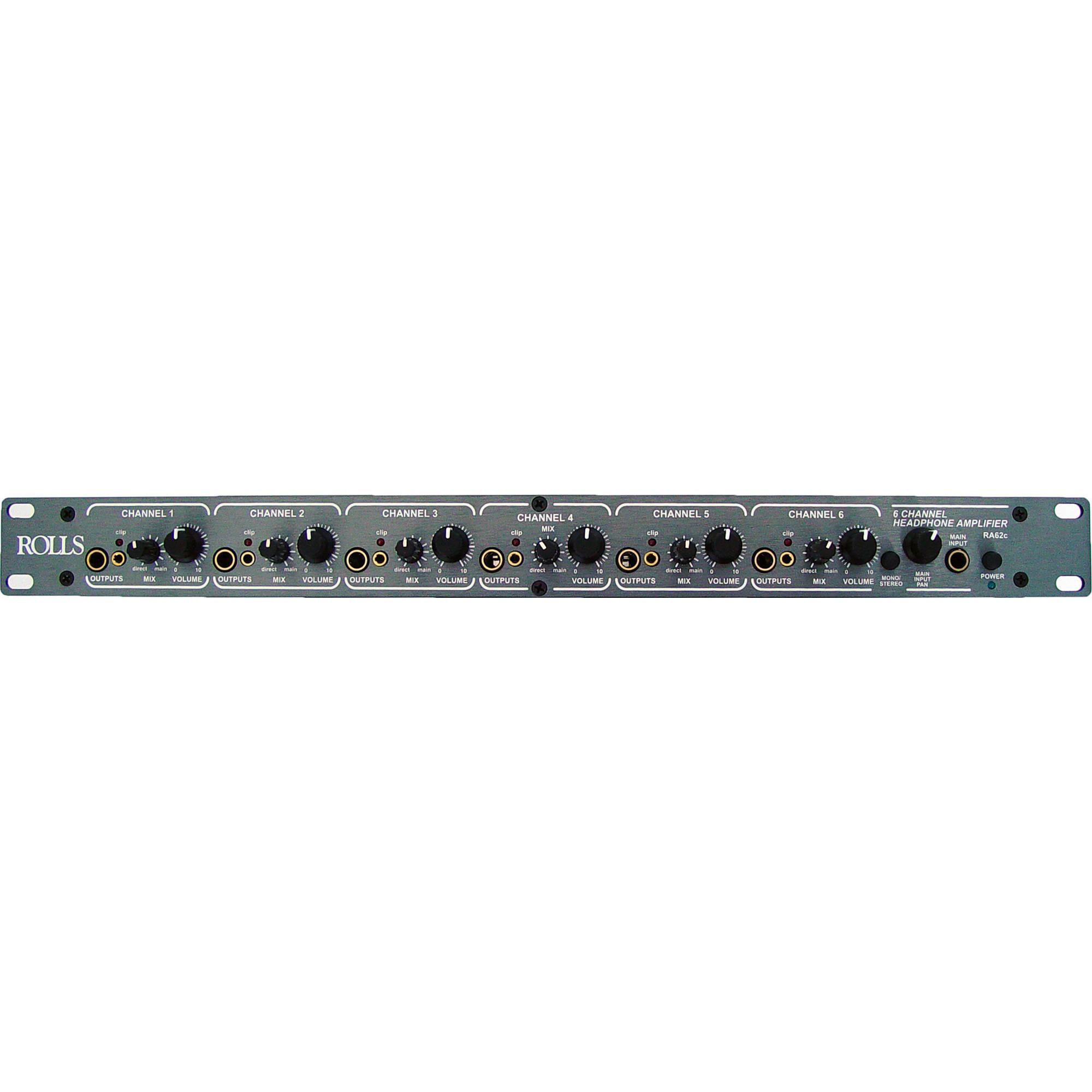 Rolls Ra62c 6 Channel Headphone Amplifier Bh Photo Video Circuit Diagram Of Audio Mixer