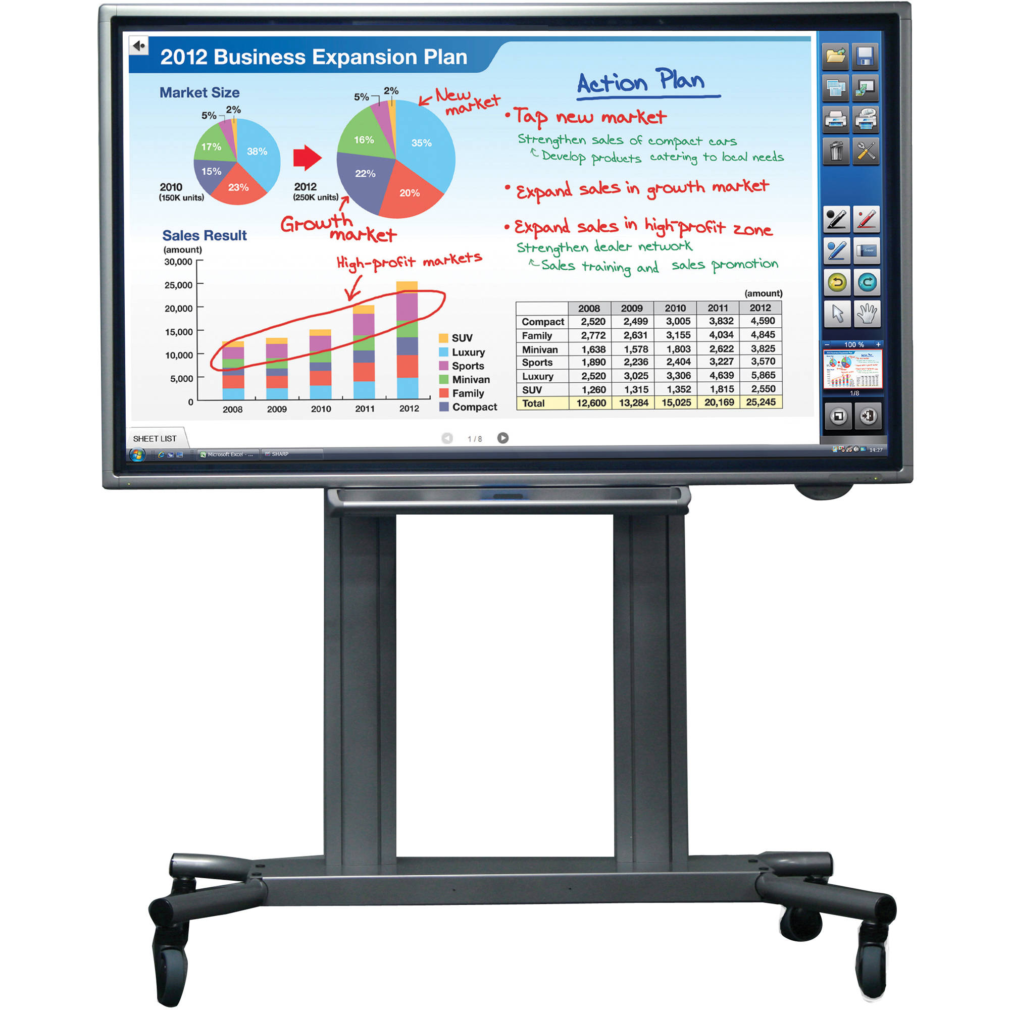 Sharp PN L702B PKG 70 HD Interactive Whiteboard LED LCD Display Package