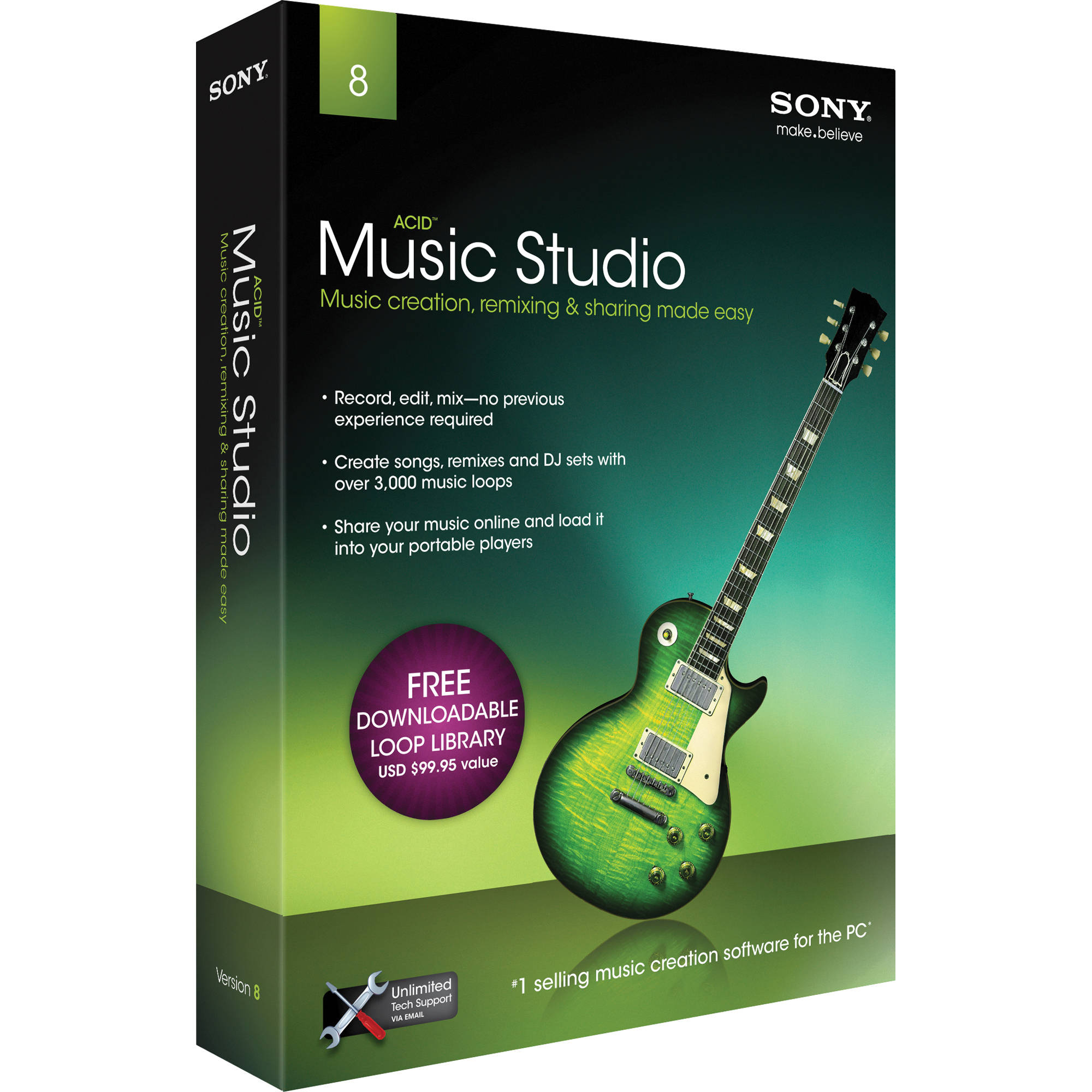Sony acid music studio 8 complete home recording masamst8000 for Music studio design software