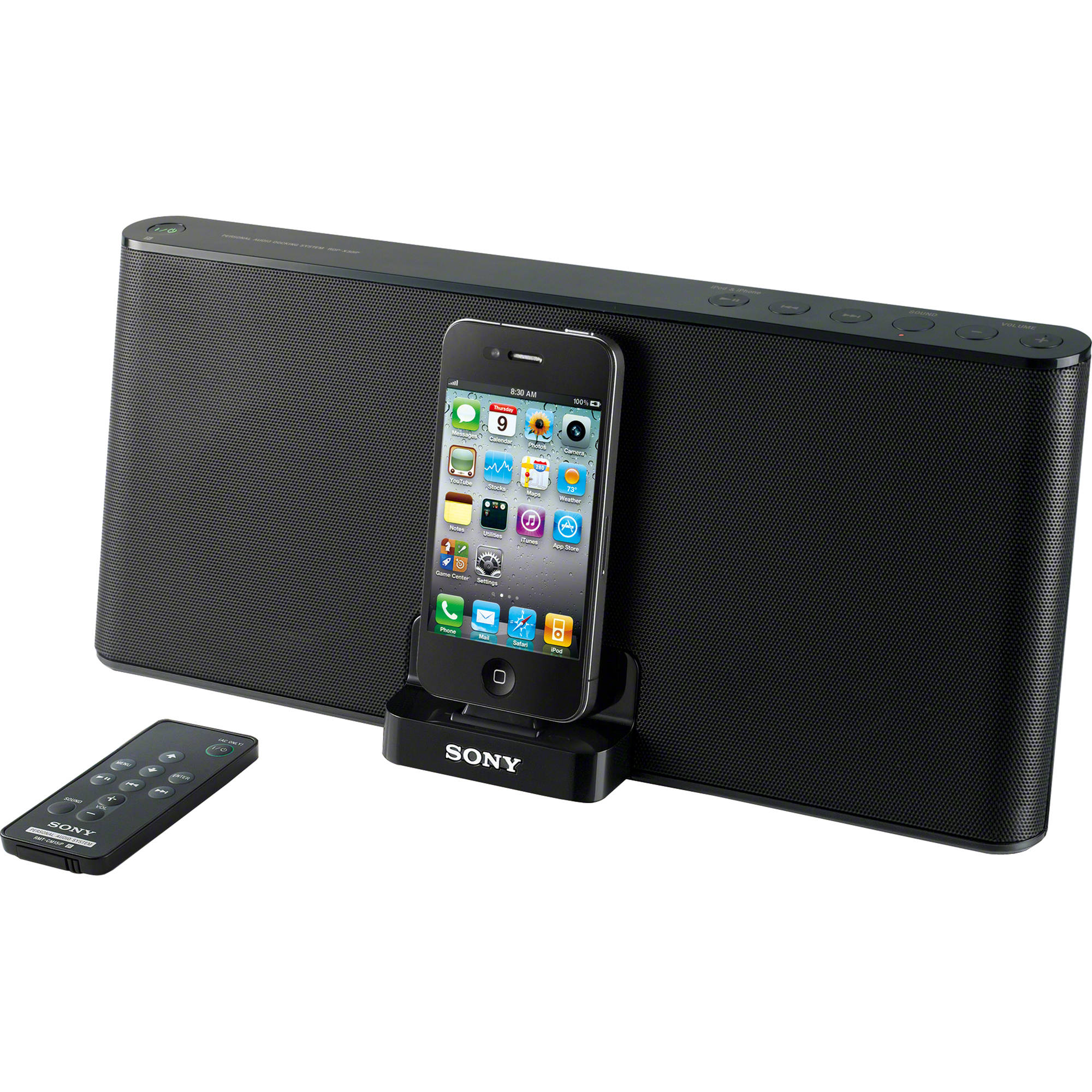 sony rdp x30ip speaker dock for ipod and iphone black. Black Bedroom Furniture Sets. Home Design Ideas