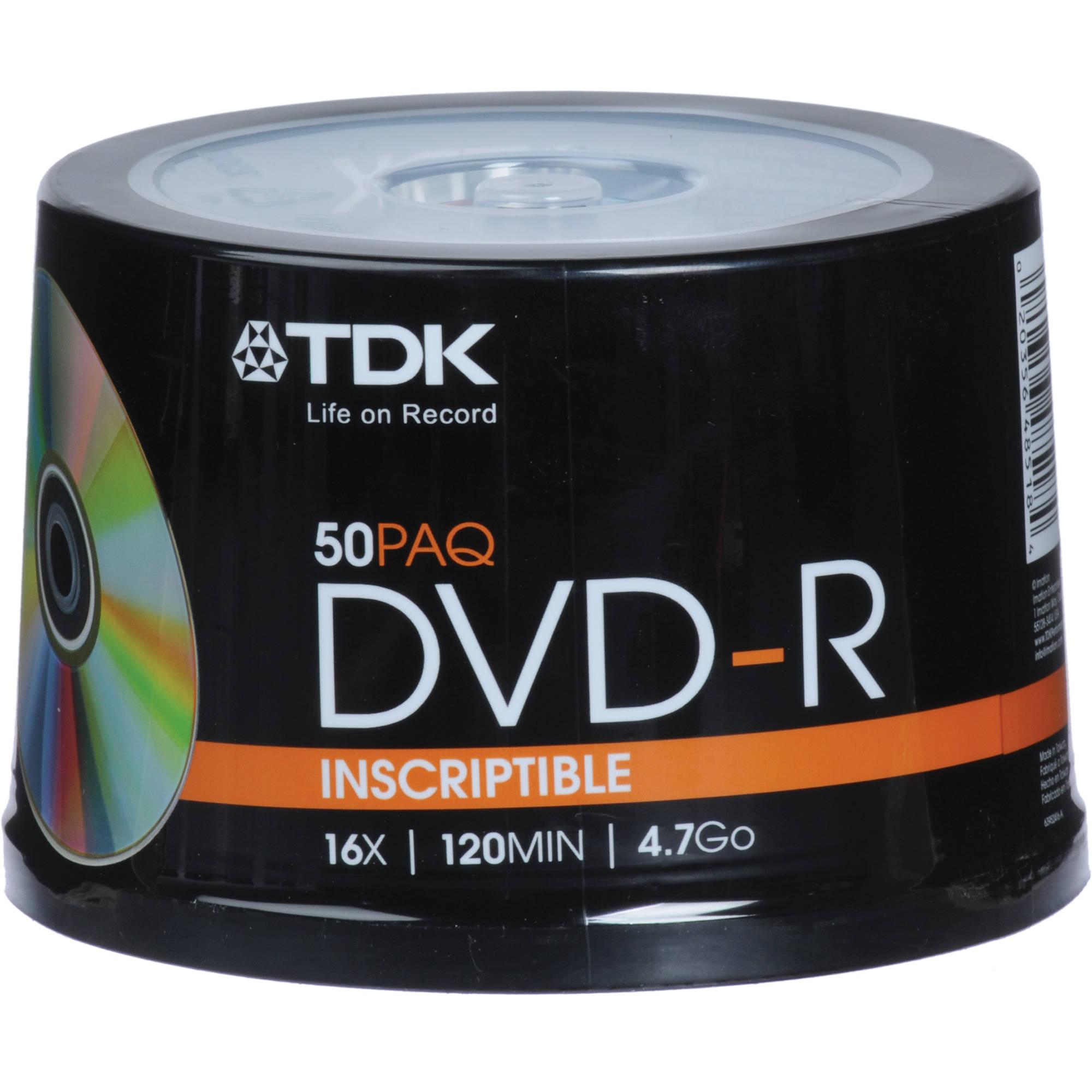TDK DVD-R 4.7GB, 16X, Recordable Disc 48518 B&H Photo Video