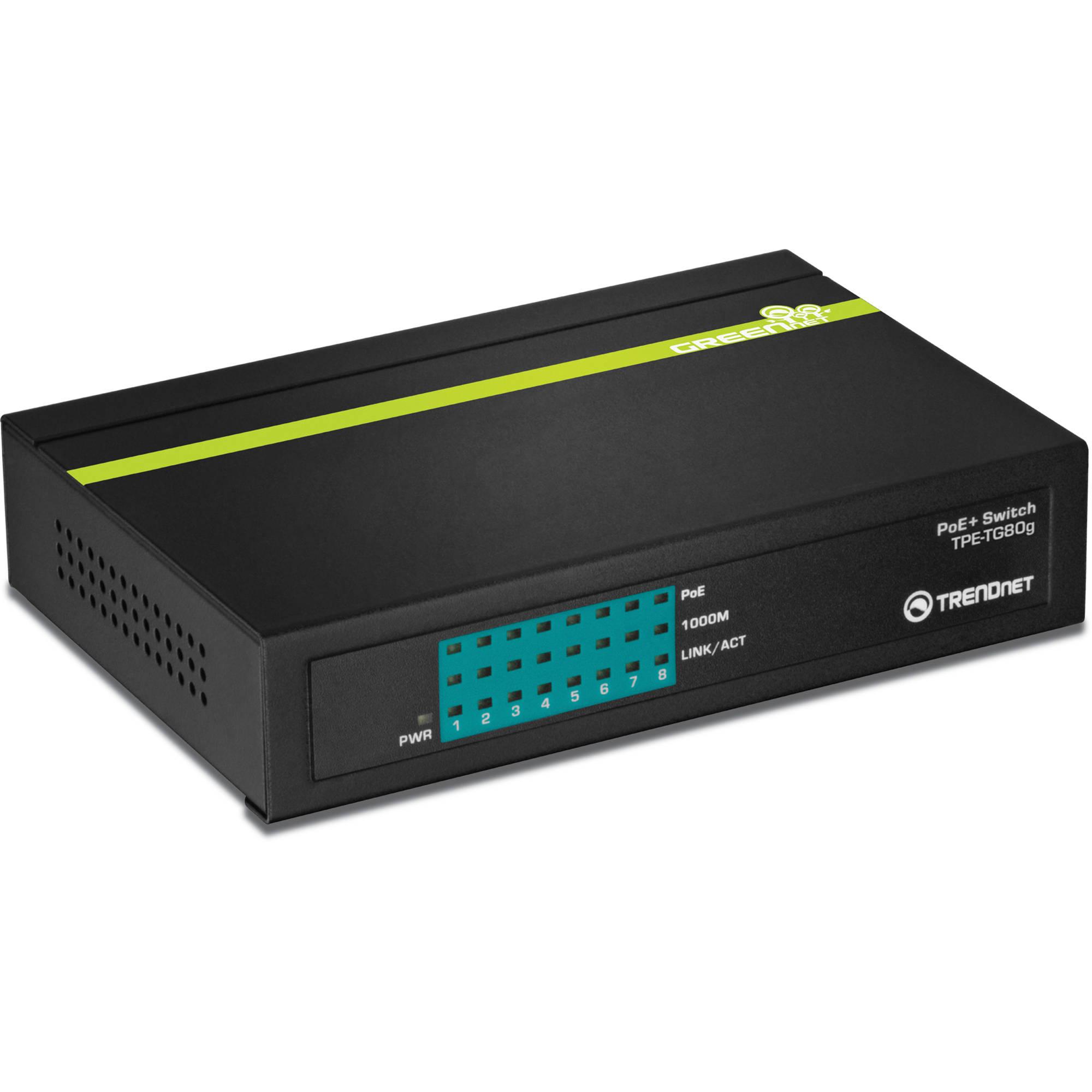 TRENDnet TPE-TG80G 8-Port Gigabit GREENnet PoE+ Switch TPE-TG80G
