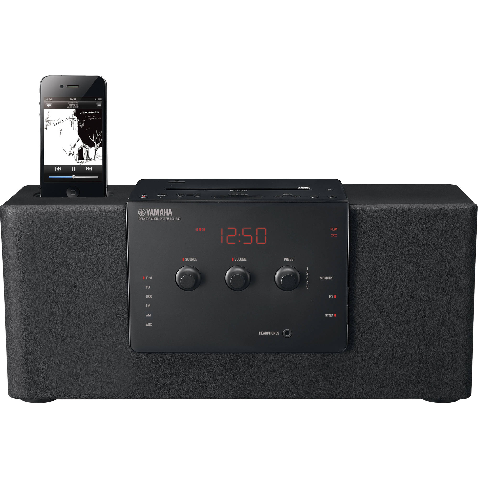 yamaha tsx 140 desktop audio system black tsx 140bl b h photo. Black Bedroom Furniture Sets. Home Design Ideas
