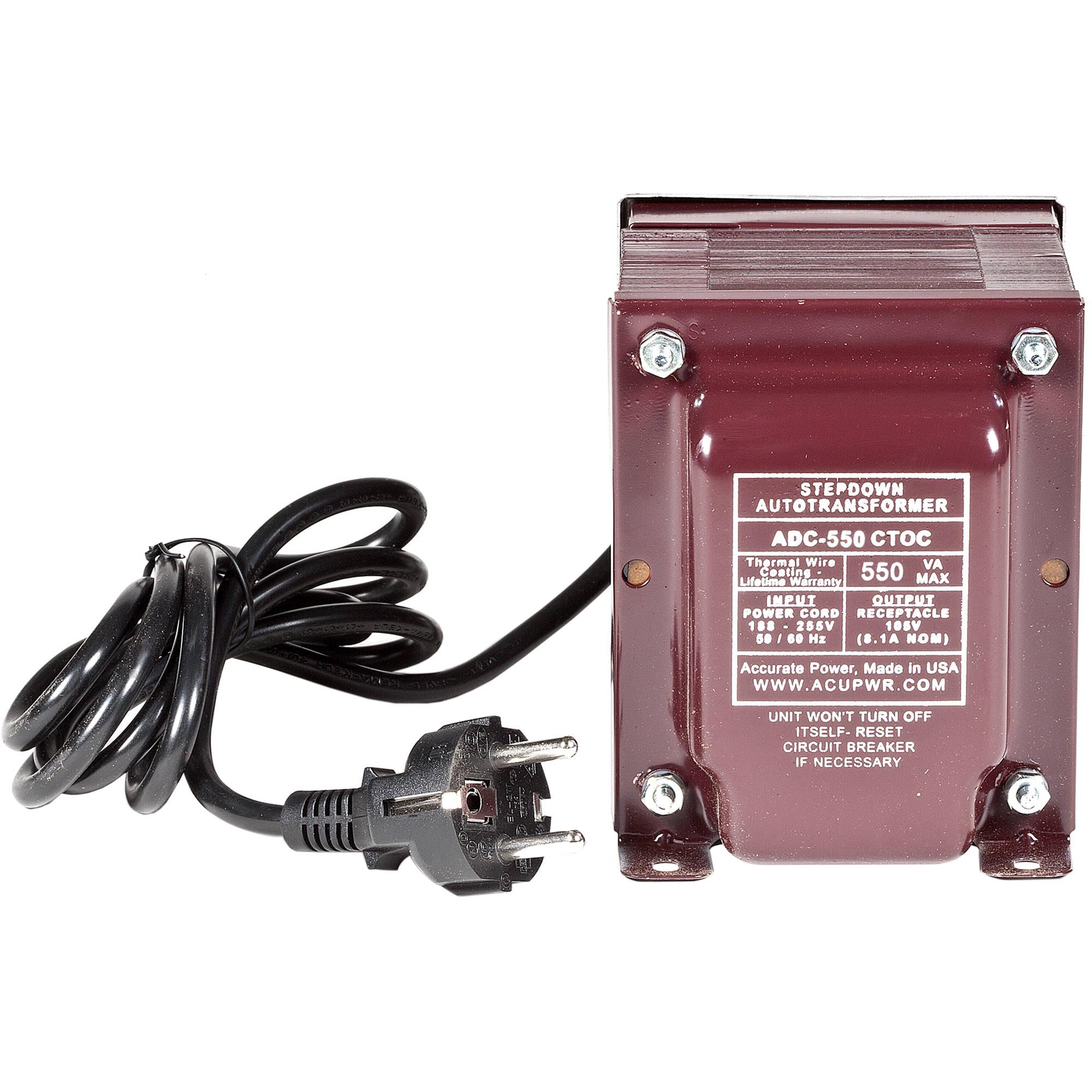 acupwr 550w step-down transformer for 220-240v cooling appliances