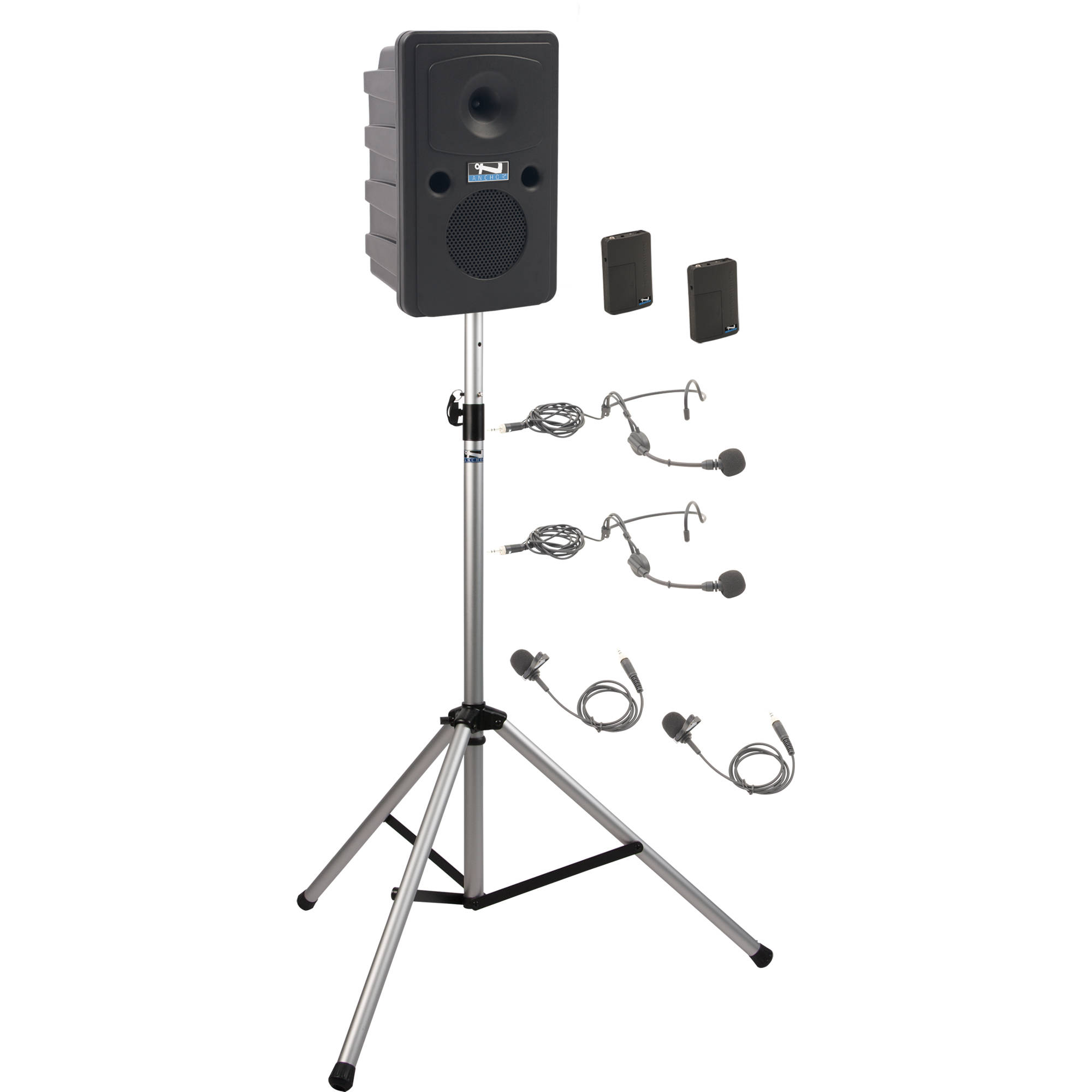 Anchor Audio GG-BP2-BB Go Getter Portable Sound System Basic Package 2 with  Two Wireless Bodypack Transmitters and Speaker Stand (2 x Lavalier Mics, ... e8942901aa