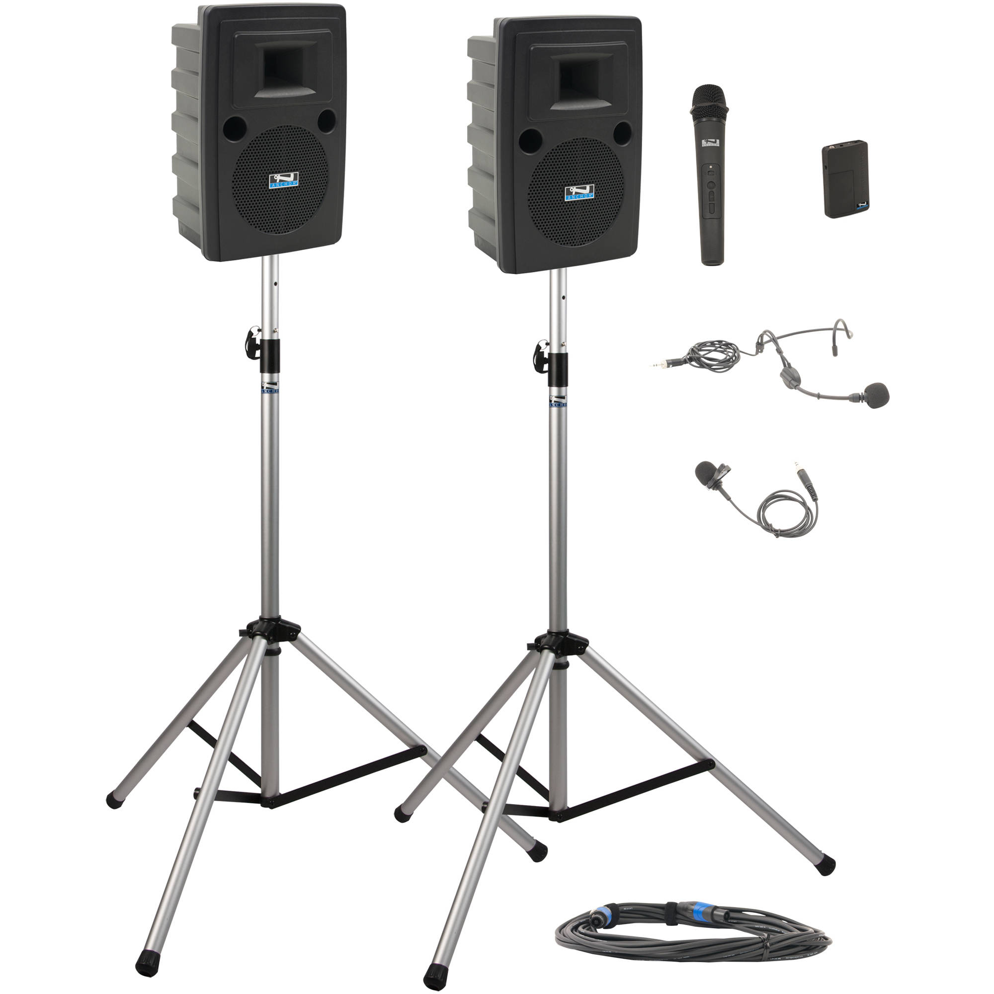 Anchor Audio LIB-DP2-HB Liberty Deluxe Package 2 Portable Bluetooth PA  System with Bodypack   Handheld Wireless Microphone Transmitters, Unpowered  Companion ... 16630745e9