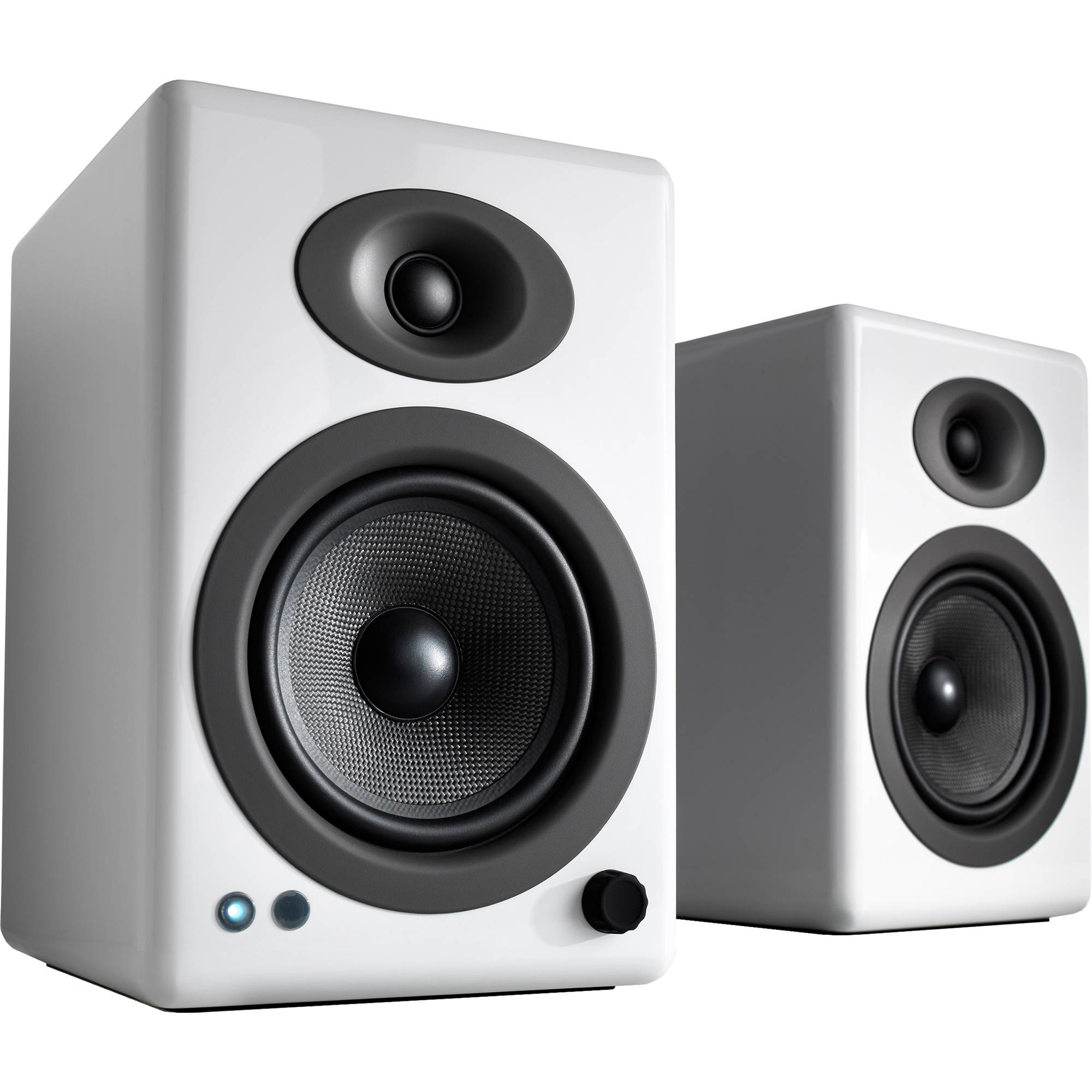Audioengine A5 Wireless 2 Way Active Bluetooth Bookshelf Speakers Hi Gloss White