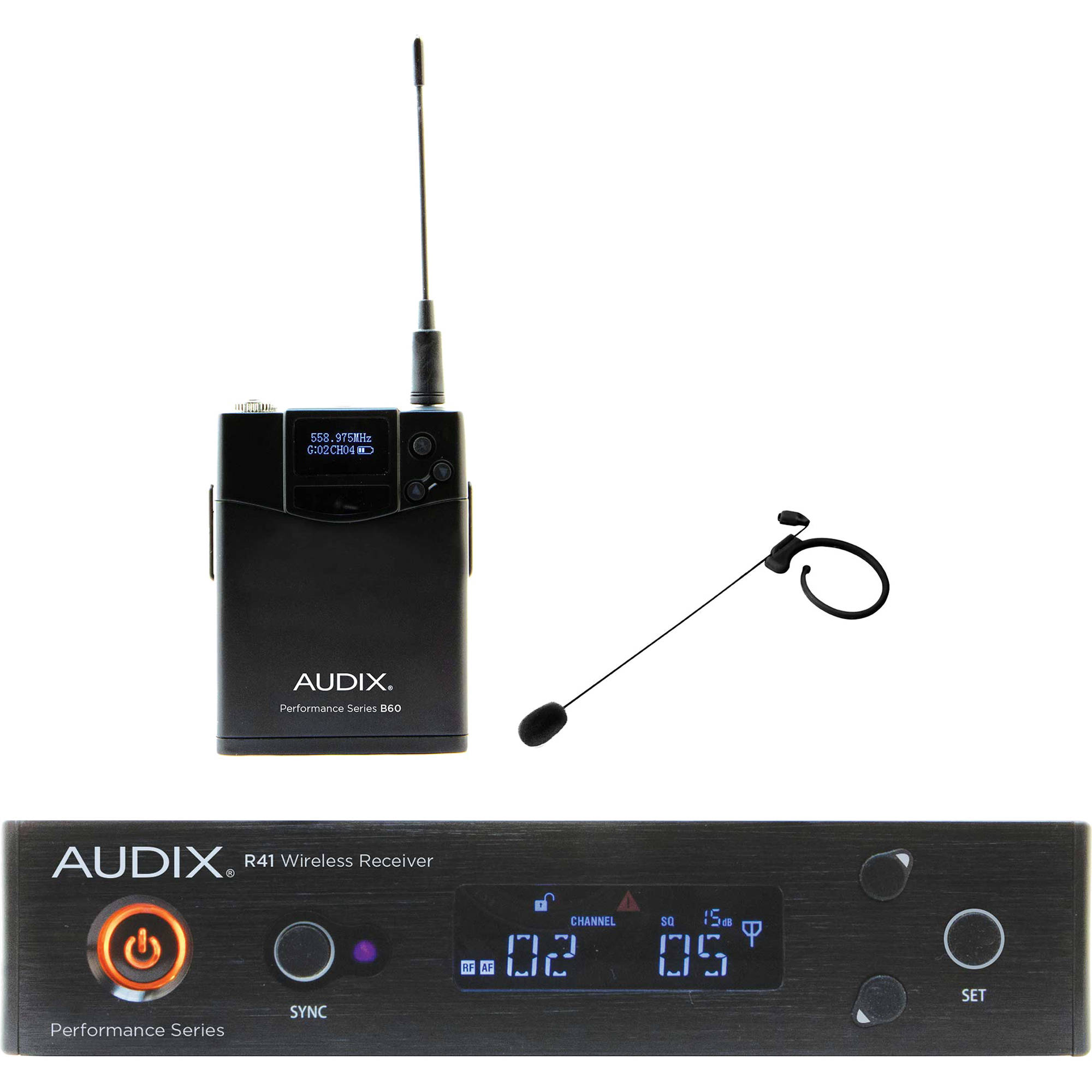 Audix AP41 Performance Series Single-Channel Bodypack Wireless System with  HT7 Single-Ear Condenser Microphone (Black, 554 to 586 MHz) 17b0448b94