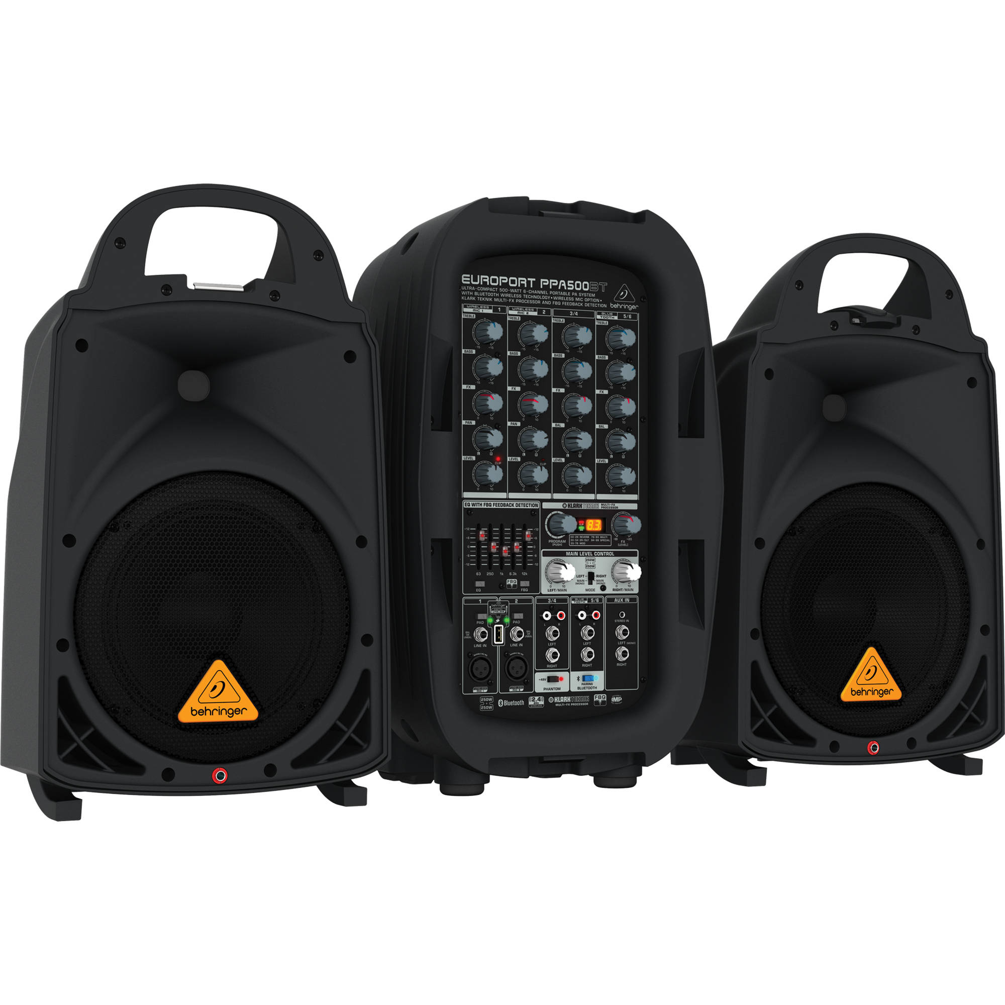 Portable Pa Systems Bh Photo Video Battery Receiver Speakers Mono Sub Amplifier And Subwoofer Behringer Europort Ppa500bt 500w 6 Channel System With Bluetooth Wireless
