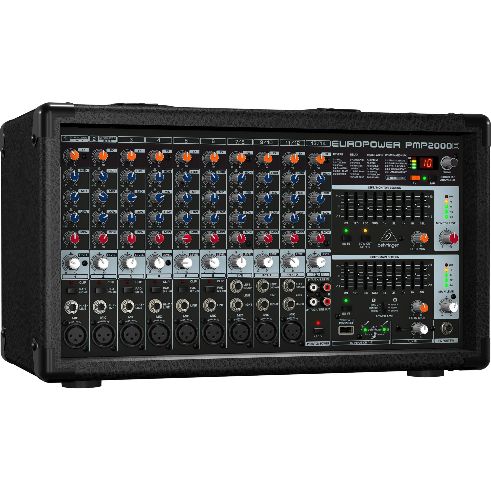 behringer pmp2000d 2000w 14 channel powered mixer pmp2000d b h. Black Bedroom Furniture Sets. Home Design Ideas