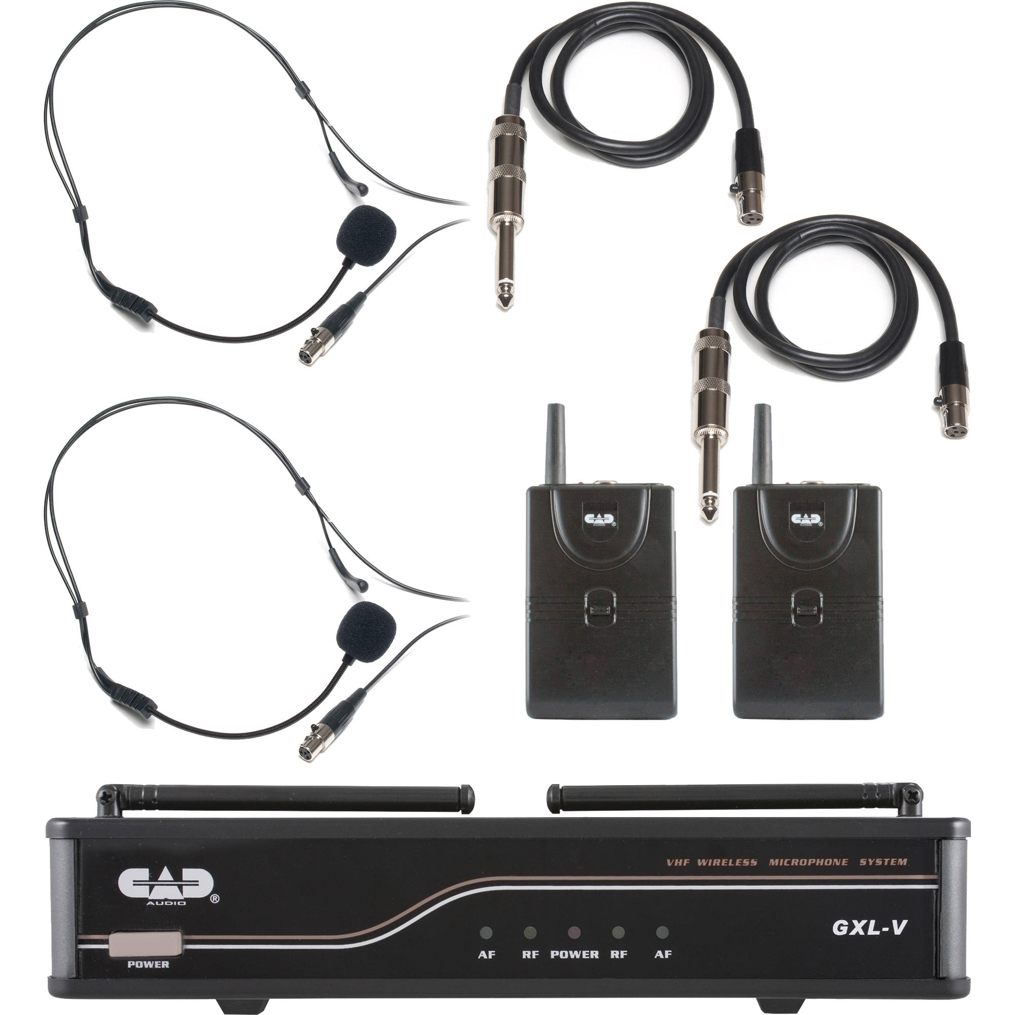 cad vhf dual channel 2 bodypack wireless microphone and gxlvbb h. Black Bedroom Furniture Sets. Home Design Ideas
