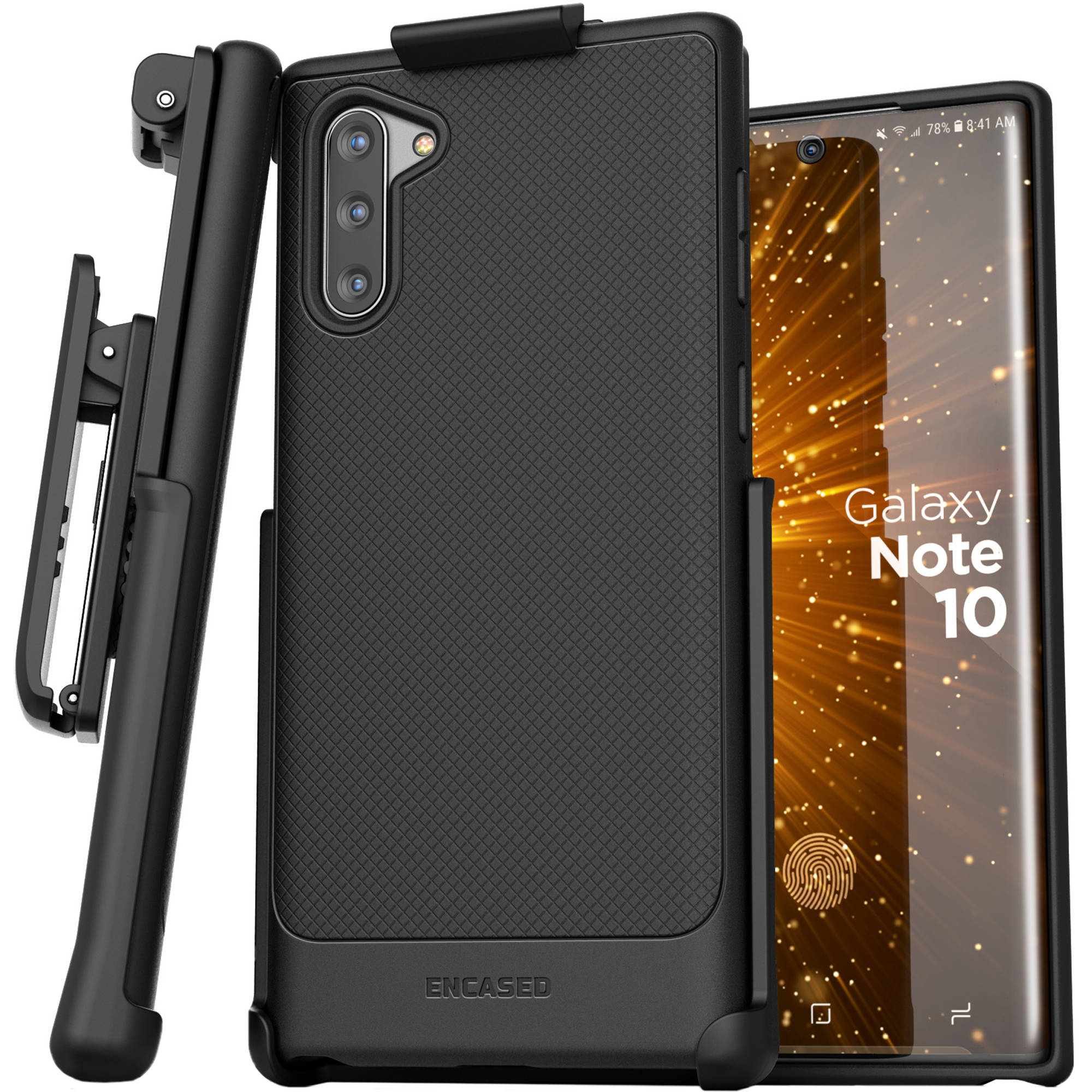 the latest 0a7ea b9d1d Encased Thin Armor Series Case with Belt Clip Holster for Samsung Galaxy  Note10 (Black)