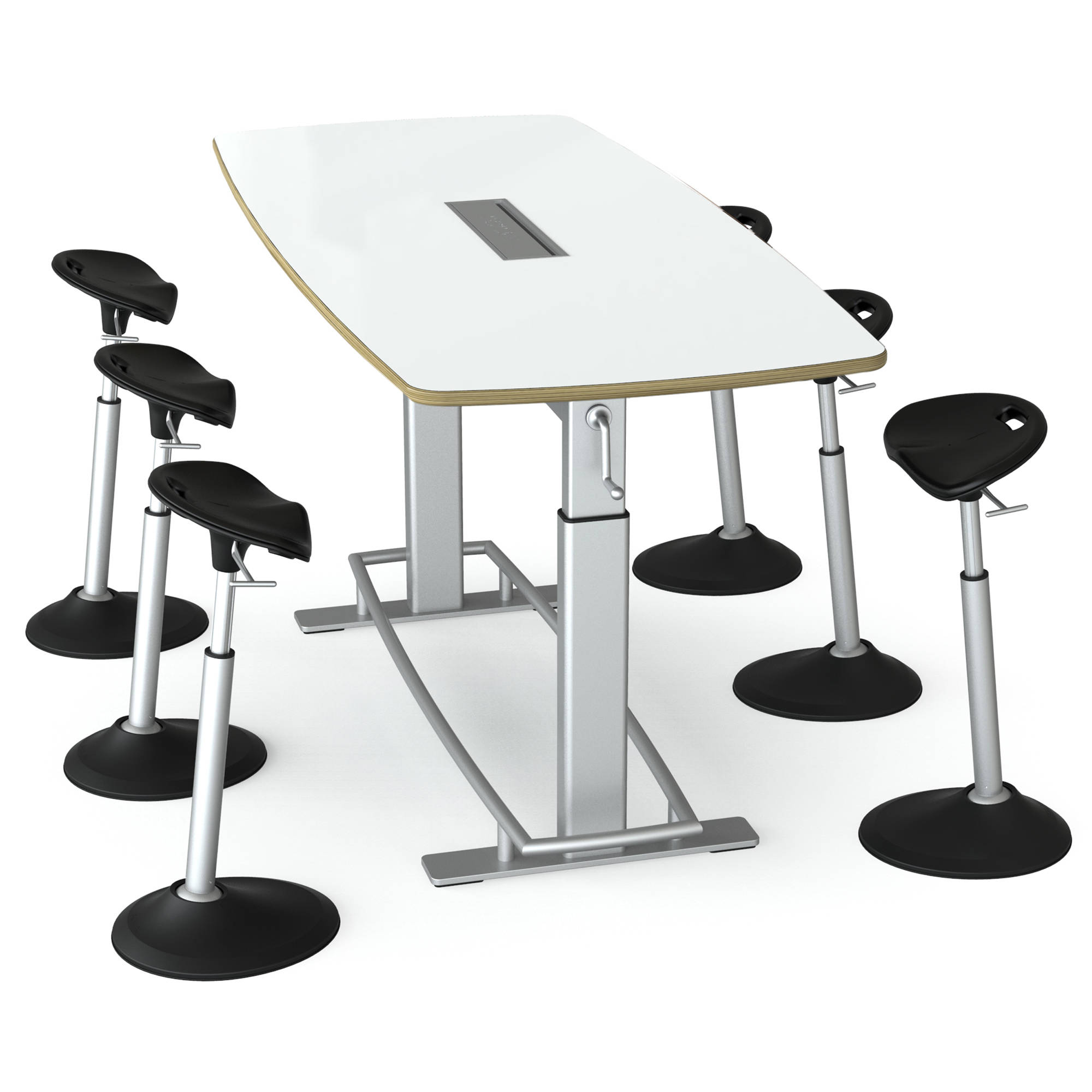 Focal Upright Furniture Confluence 6 Table And Six Mobis Seat Bundle (Dry  Erase Table Top