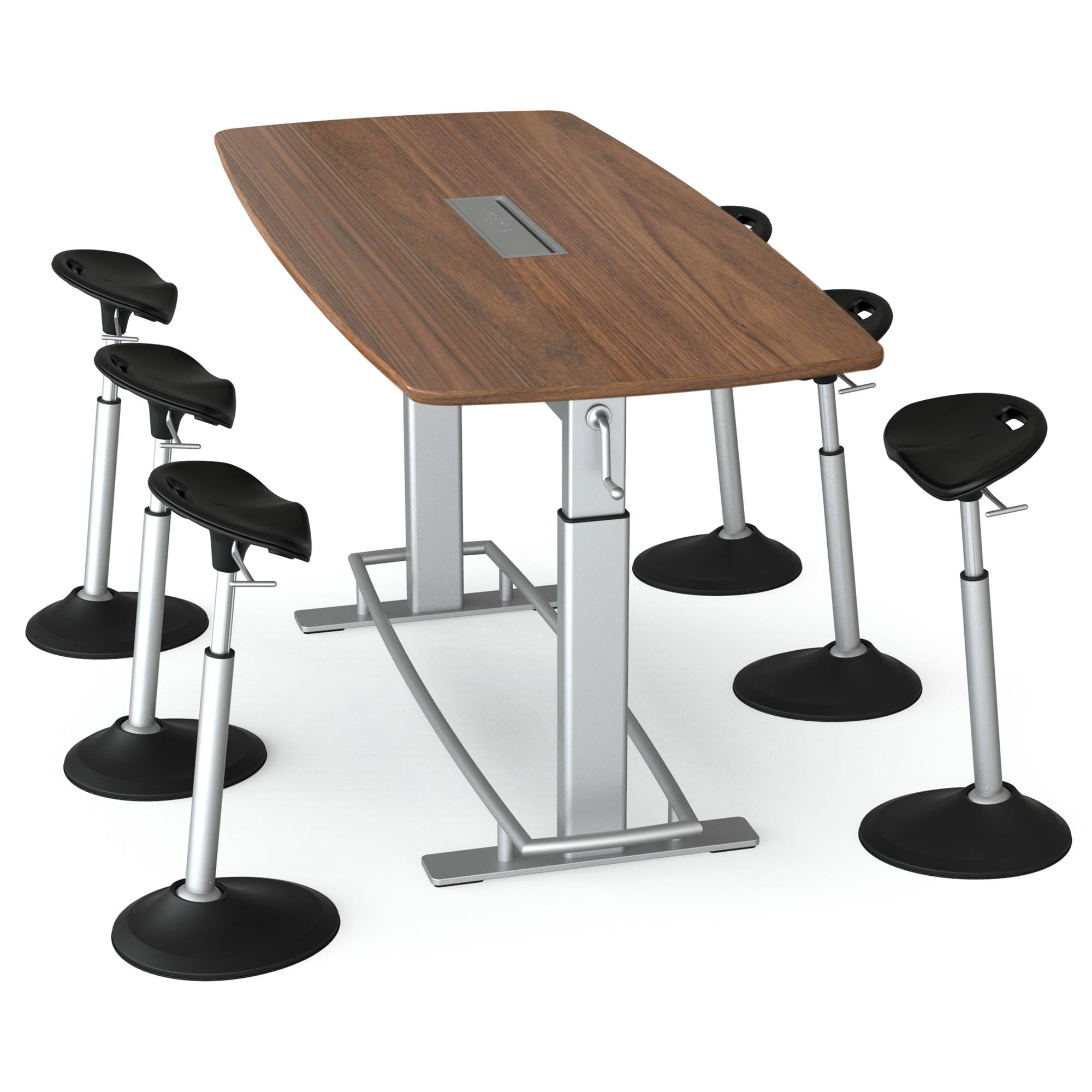 Focal Upright Furniture Confluence 6 Table And Six Mobis Seat Bundle (Black  Walnut Table Top