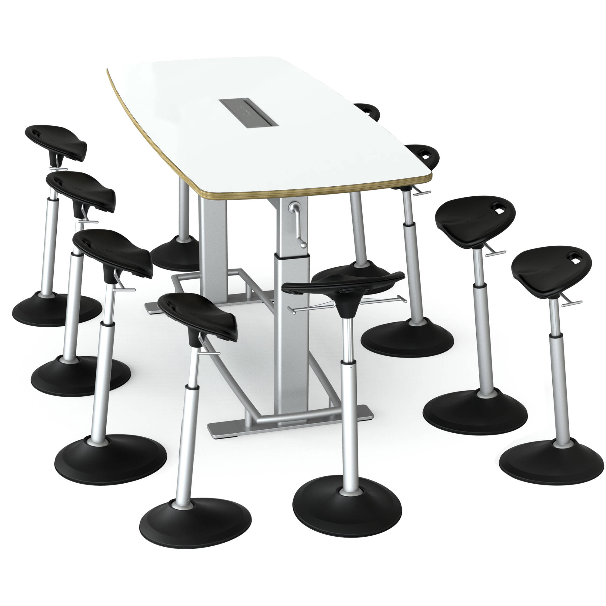 Focal Upright Furniture Confluence 8 Table And Ten Mobis Seat Bundle (Dry  Erase Table Top
