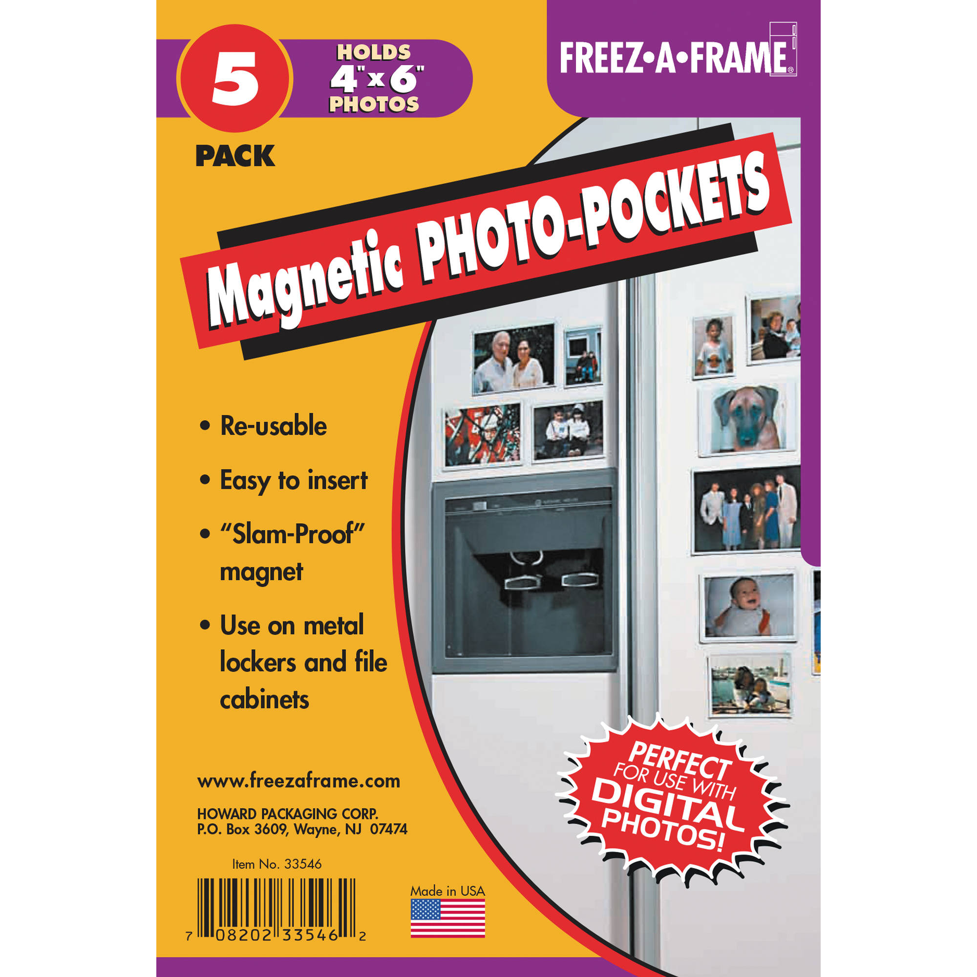 FREEZE-A-FRAME Magnetic Photo Pockets (4 x 6\