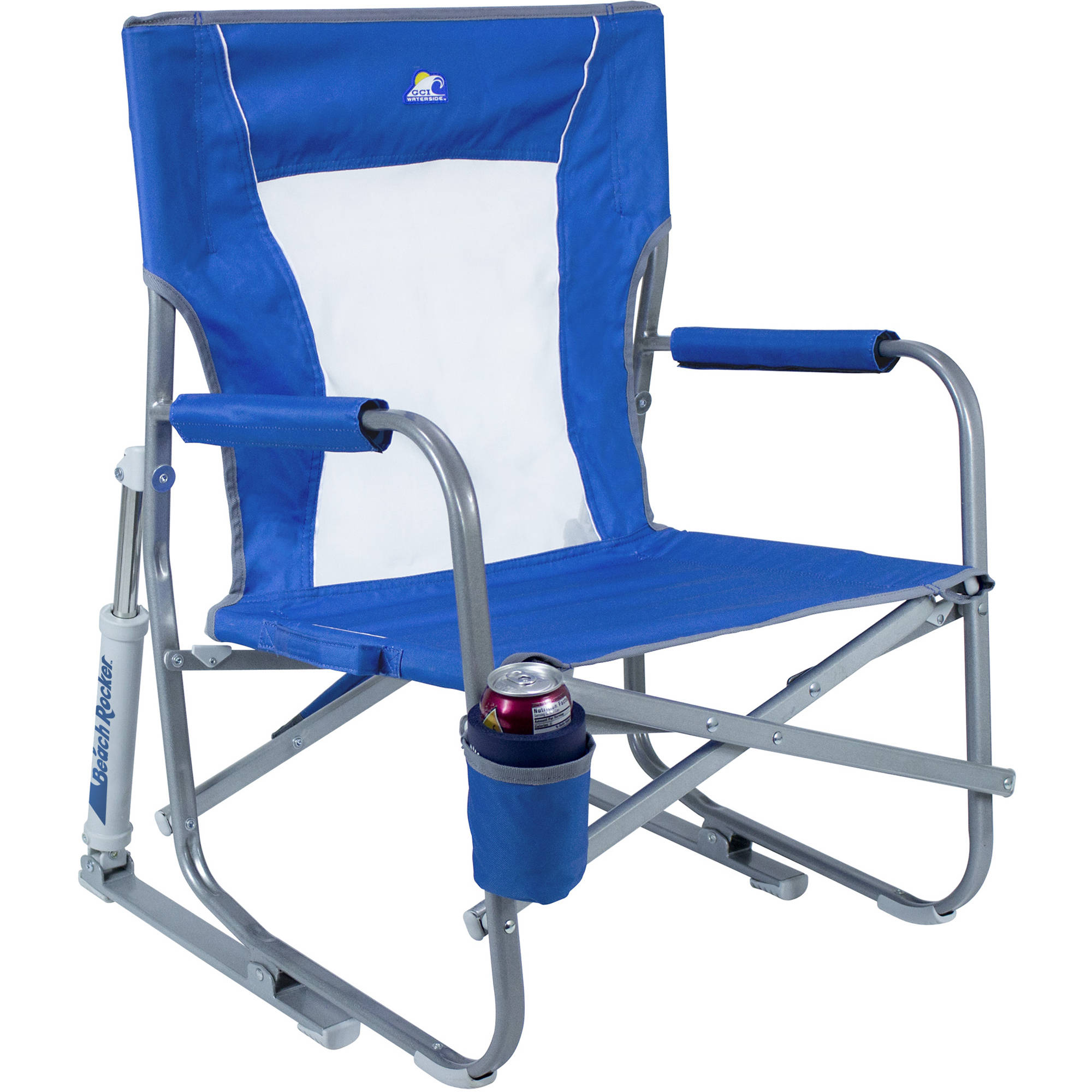 GCI Outdoor Beach Rocker Folding Chair Saybrook Blue B&H