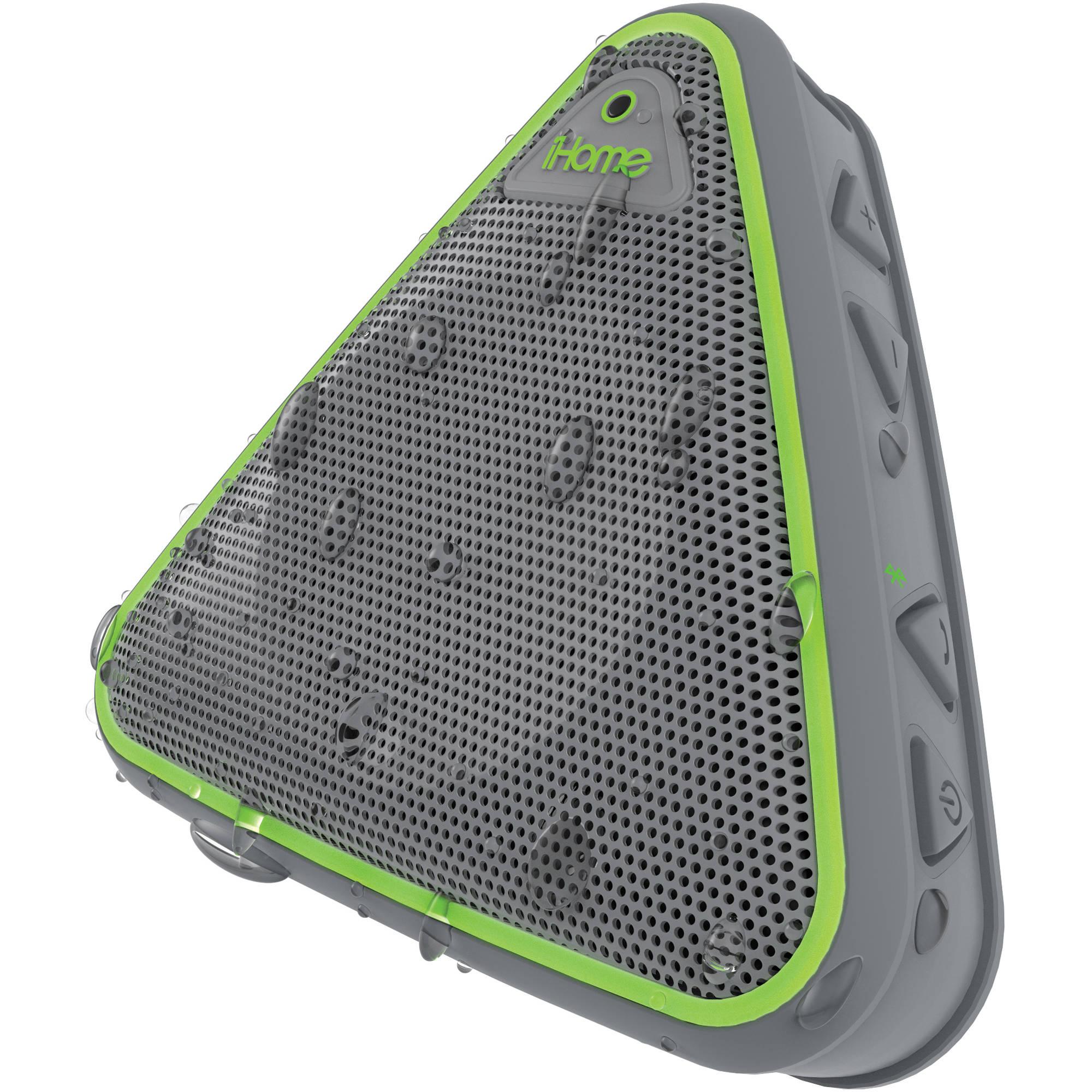 Ihome Ibt3 Splashproof Wireless Bluetooth Speaker Ibt3gqc Bh Circuit Schematics On Instrumental Cable Wiring Diagram With Speakerphone Gray Green