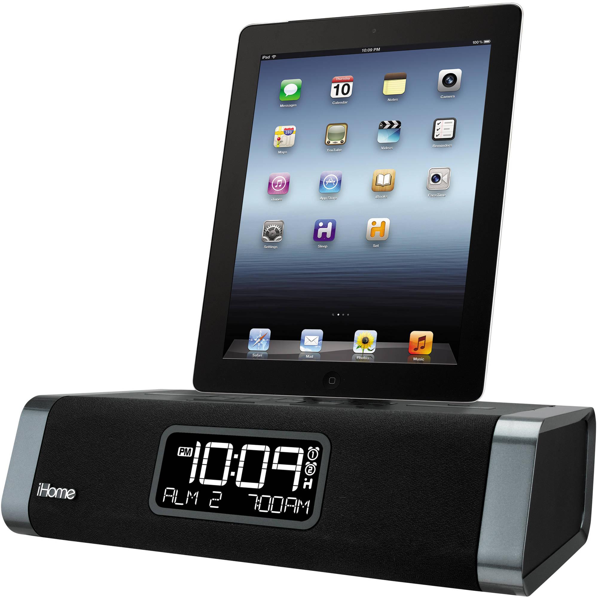 ihome idl45 dual charging stereo fm clock radio idl45bc b h. Black Bedroom Furniture Sets. Home Design Ideas