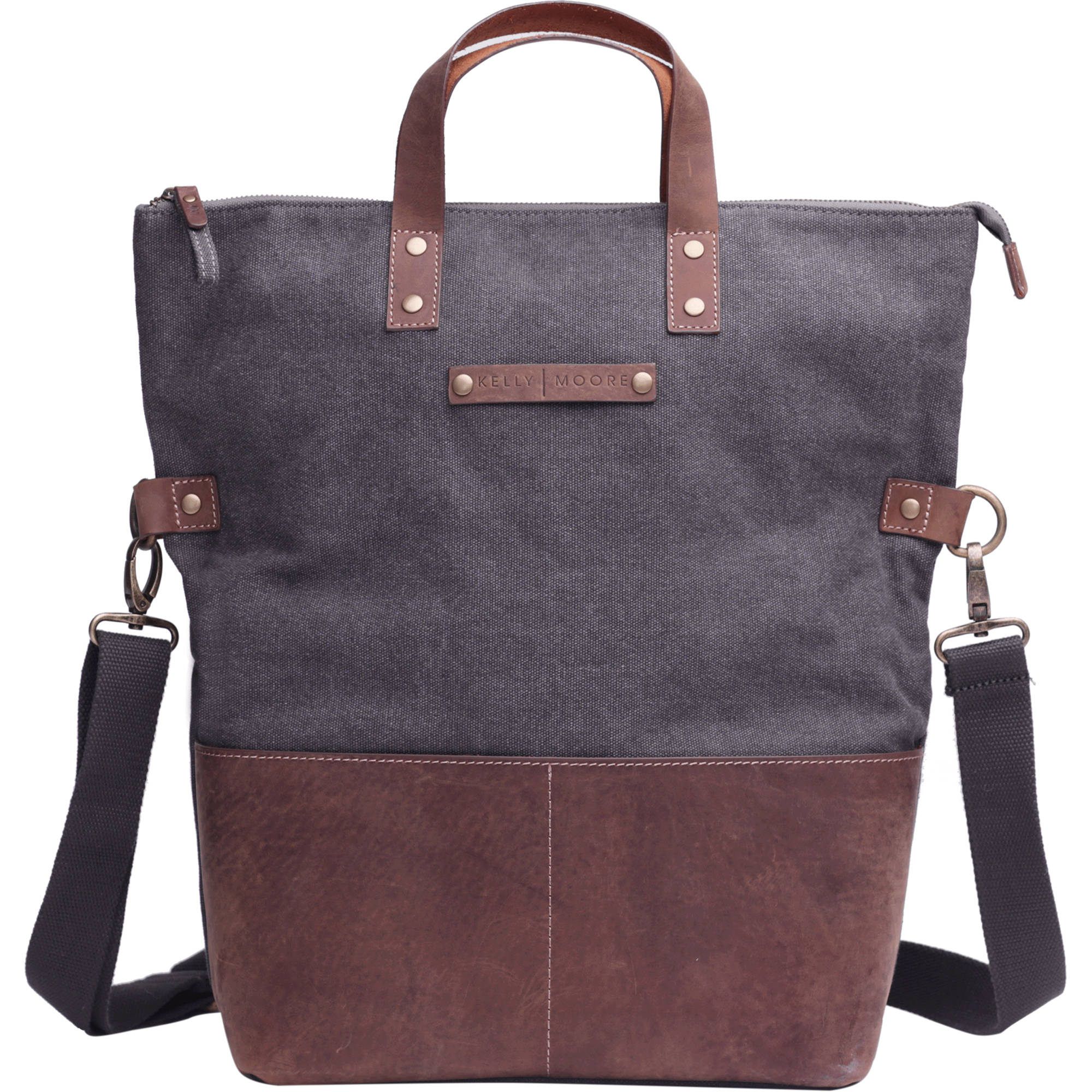 Kelly Moore Bag Collins Canvas   Leather Shoulder Bag with Removable Insert  (Gray with Brown a698c7874a4bf