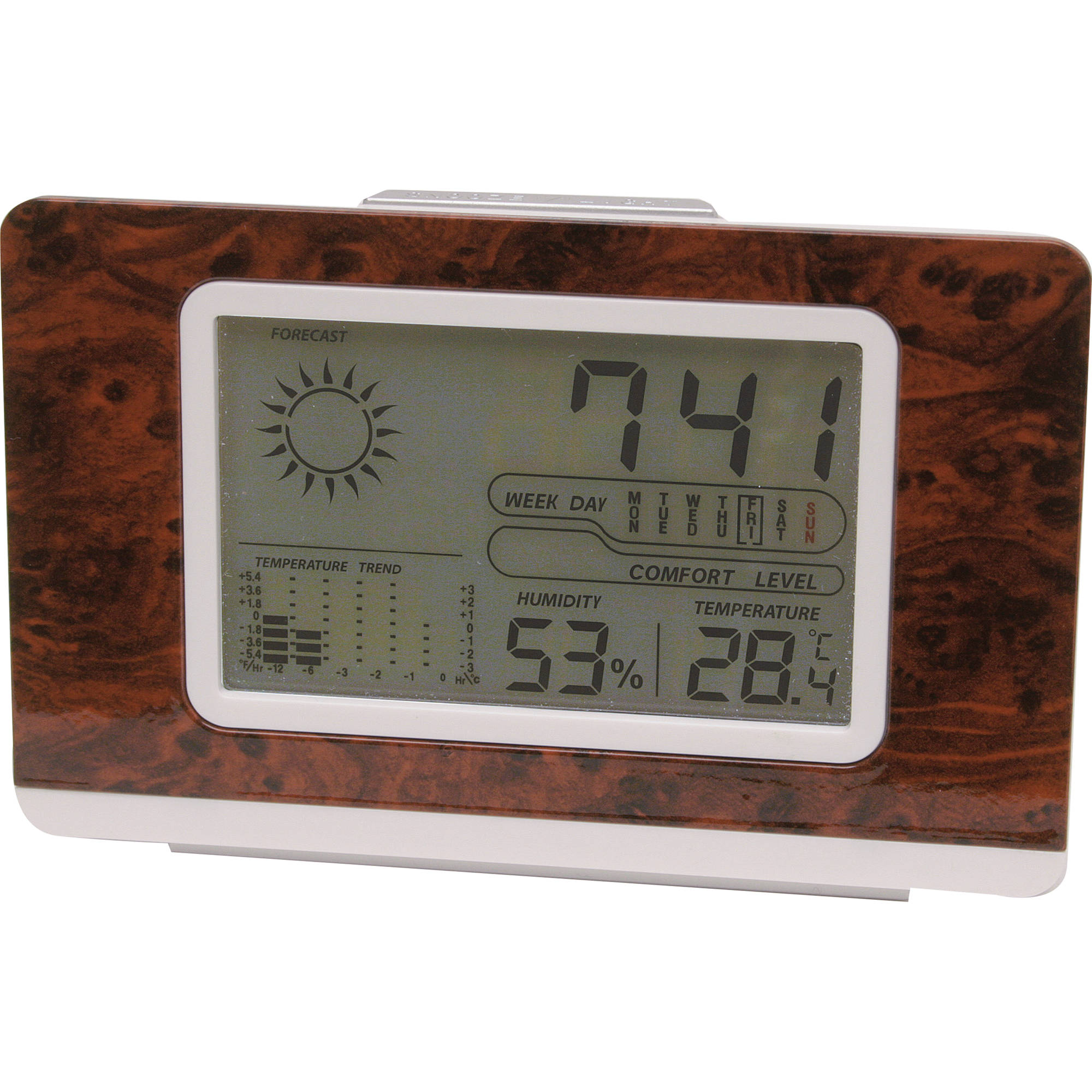 konus meteoquick digital meteo station wood grain 6186 b h. Black Bedroom Furniture Sets. Home Design Ideas