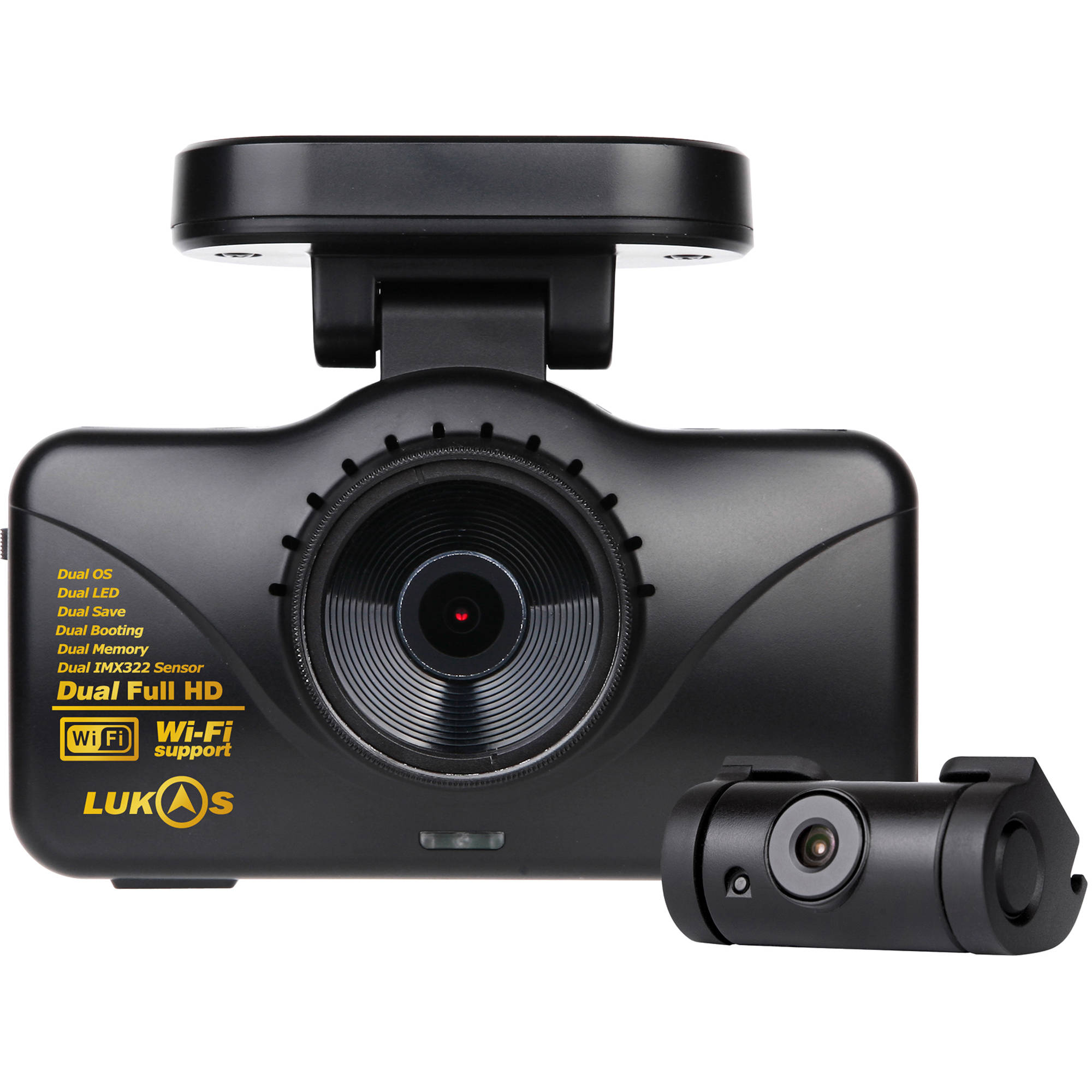 lukas 1080p wi fi front and rear dash camera with gps lk 7950g. Black Bedroom Furniture Sets. Home Design Ideas