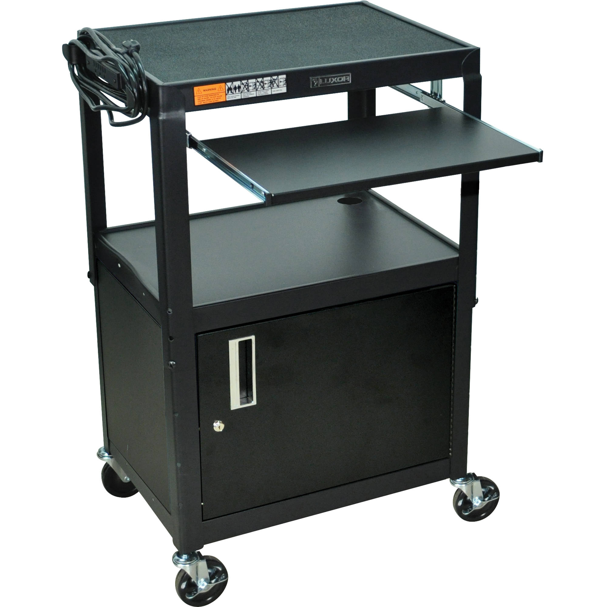 Luxor Avj42kbc Steel Cart With Cabinet And Pullout Tray
