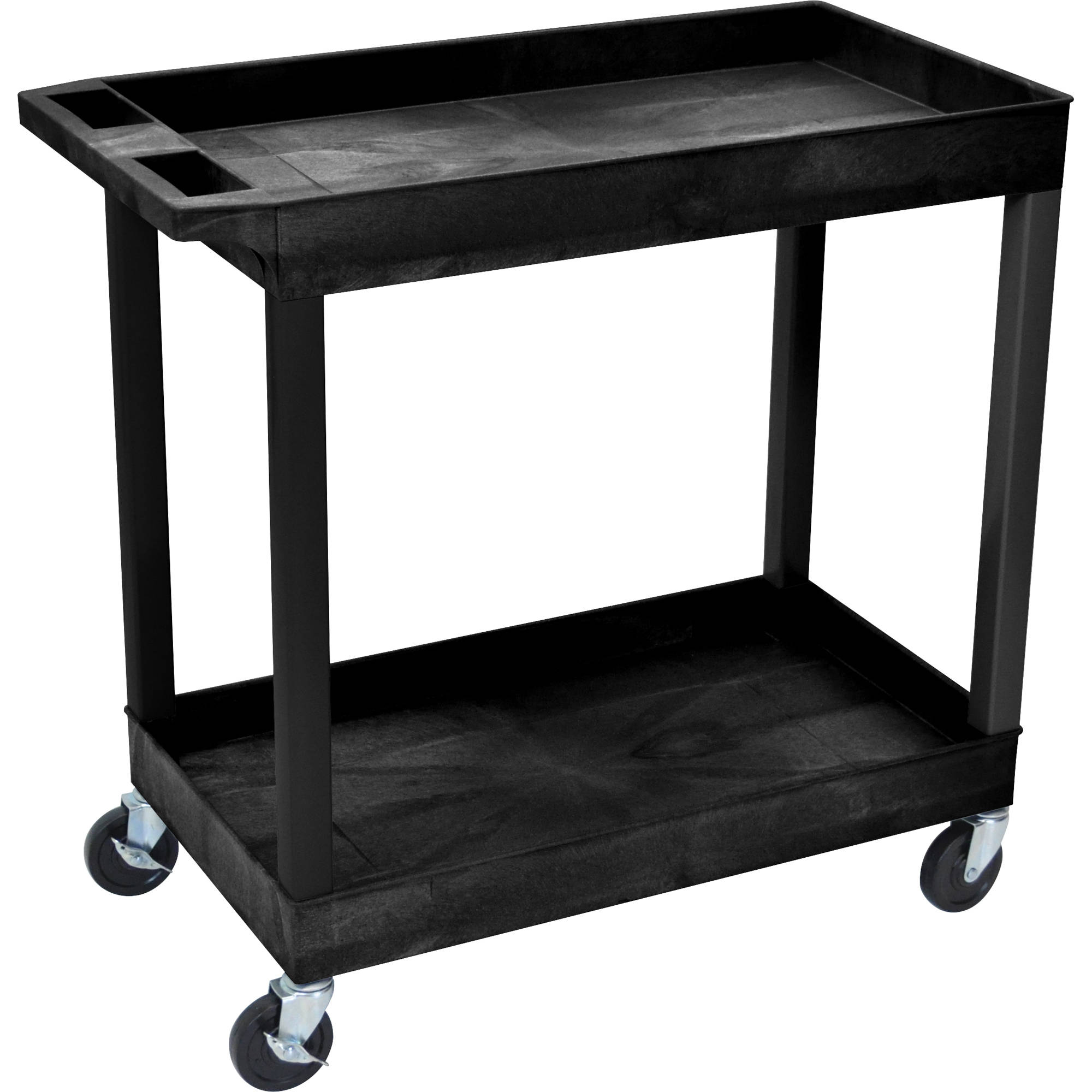 luxor 32 x 18 two shelf utility cart black luxor 32 x 18 two shelf