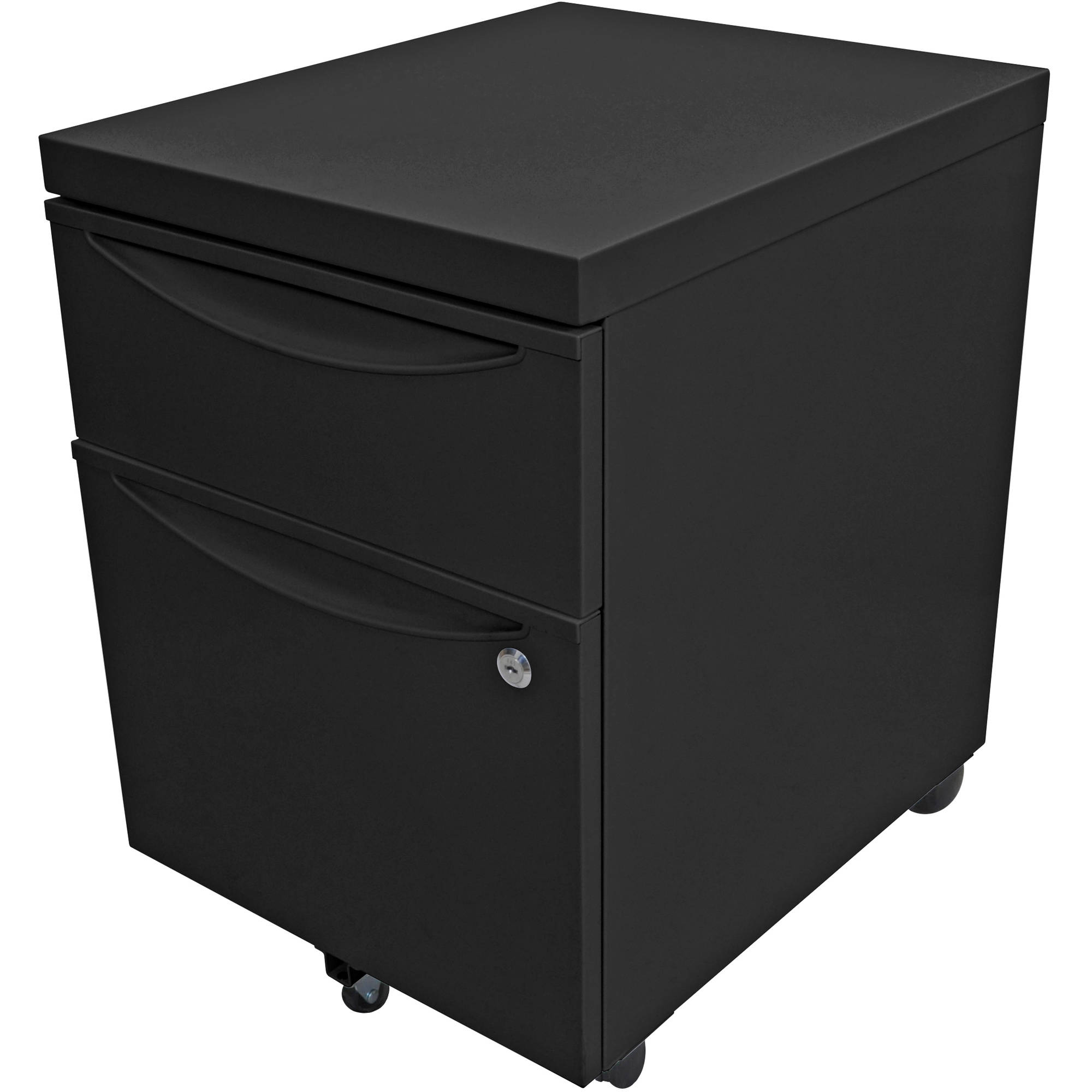 Luxor Mobile Pedestal File Cabinet With Locking Drawer (Black)