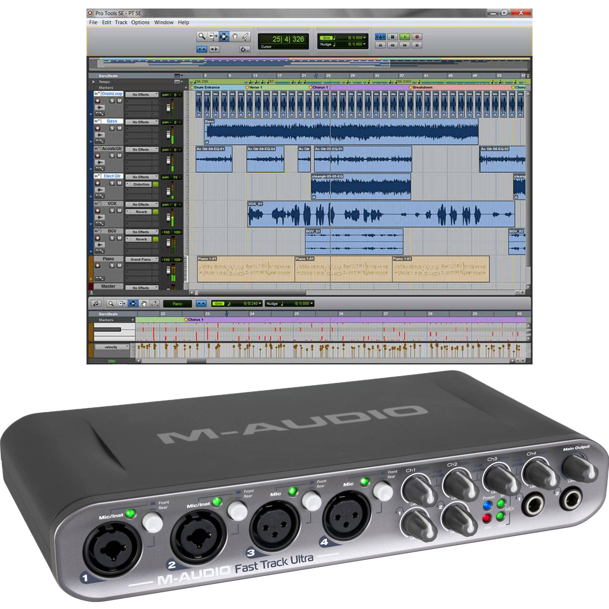 m audio fast track ultra usb interface with pro 9900 65150 00. Black Bedroom Furniture Sets. Home Design Ideas