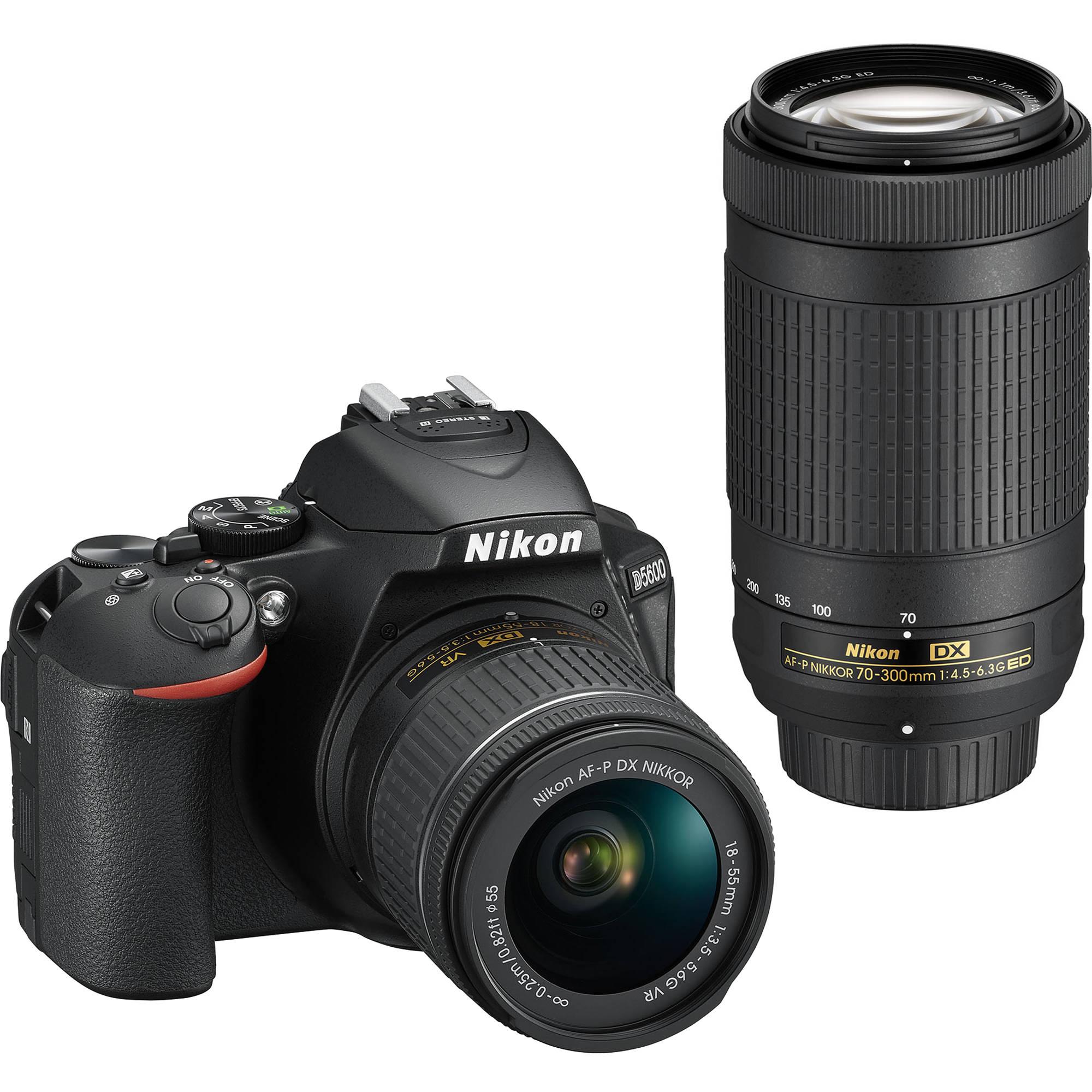 Nikon D5600 Dslr Camera With 18 55mm And 70 300mm Lenses 1580 Nokia 130 Kamera New