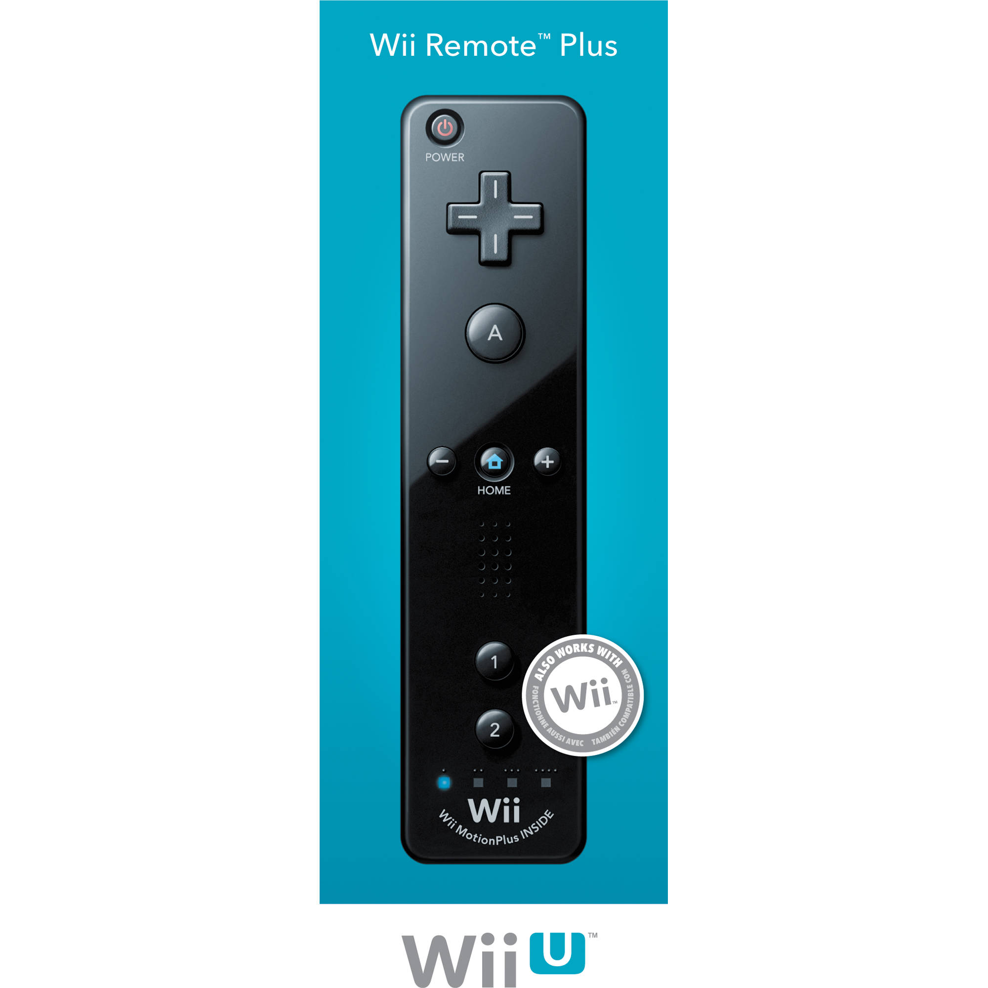 nintendo remote plus controller wii wii u black. Black Bedroom Furniture Sets. Home Design Ideas